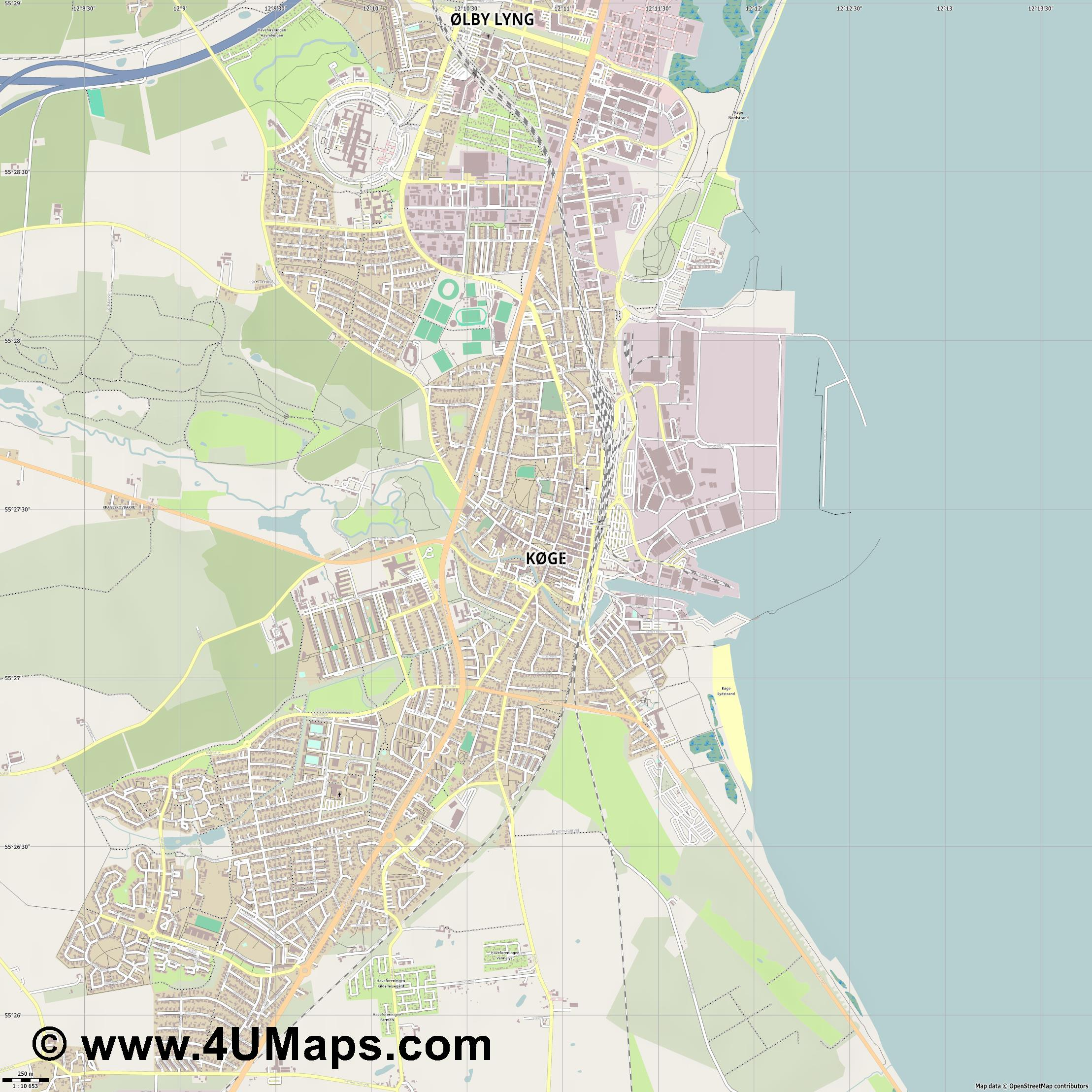 Køge Köge  jpg ultra high detail preview vector city map
