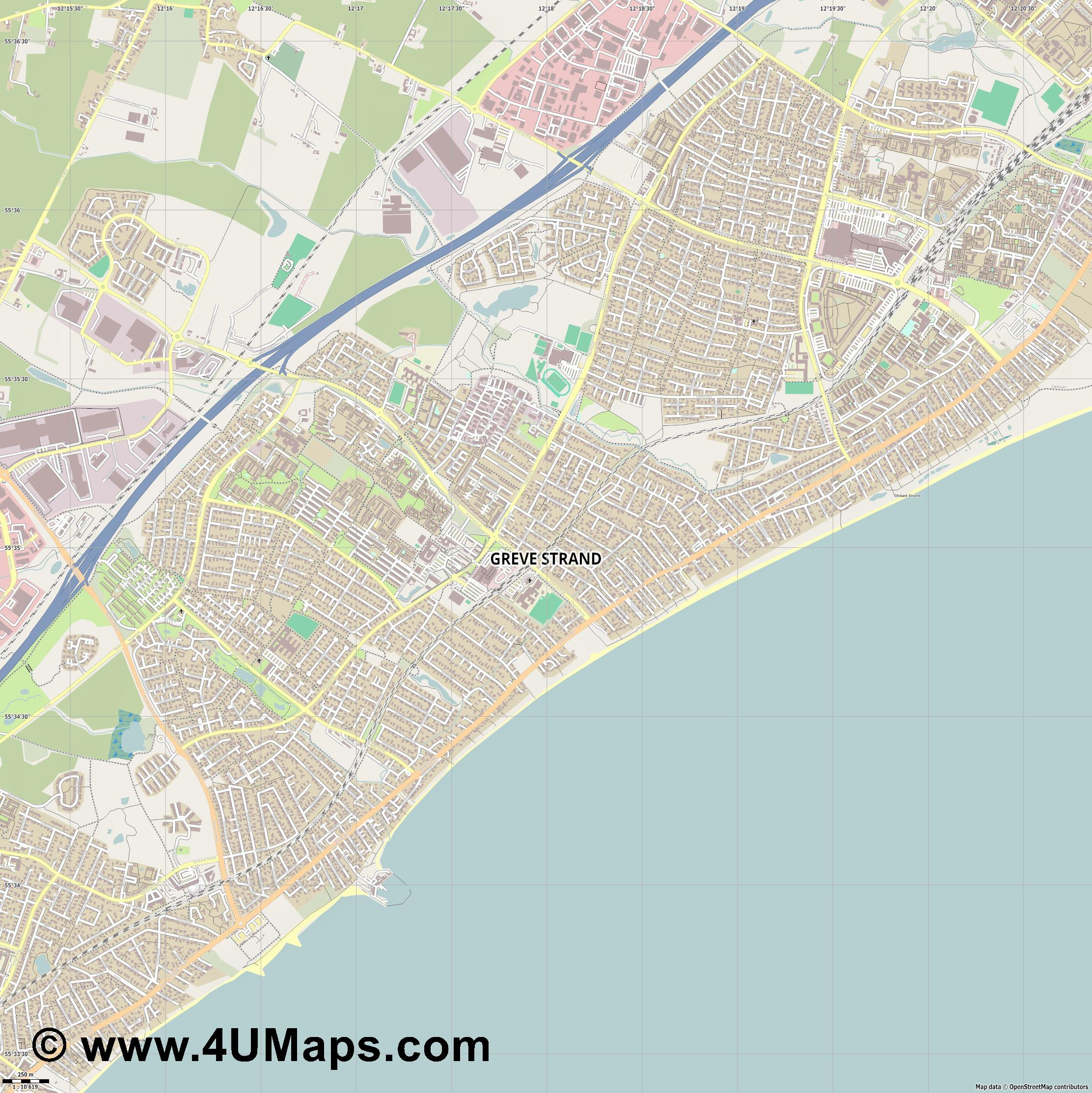 Greve Strand  jpg ultra high detail preview vector city map