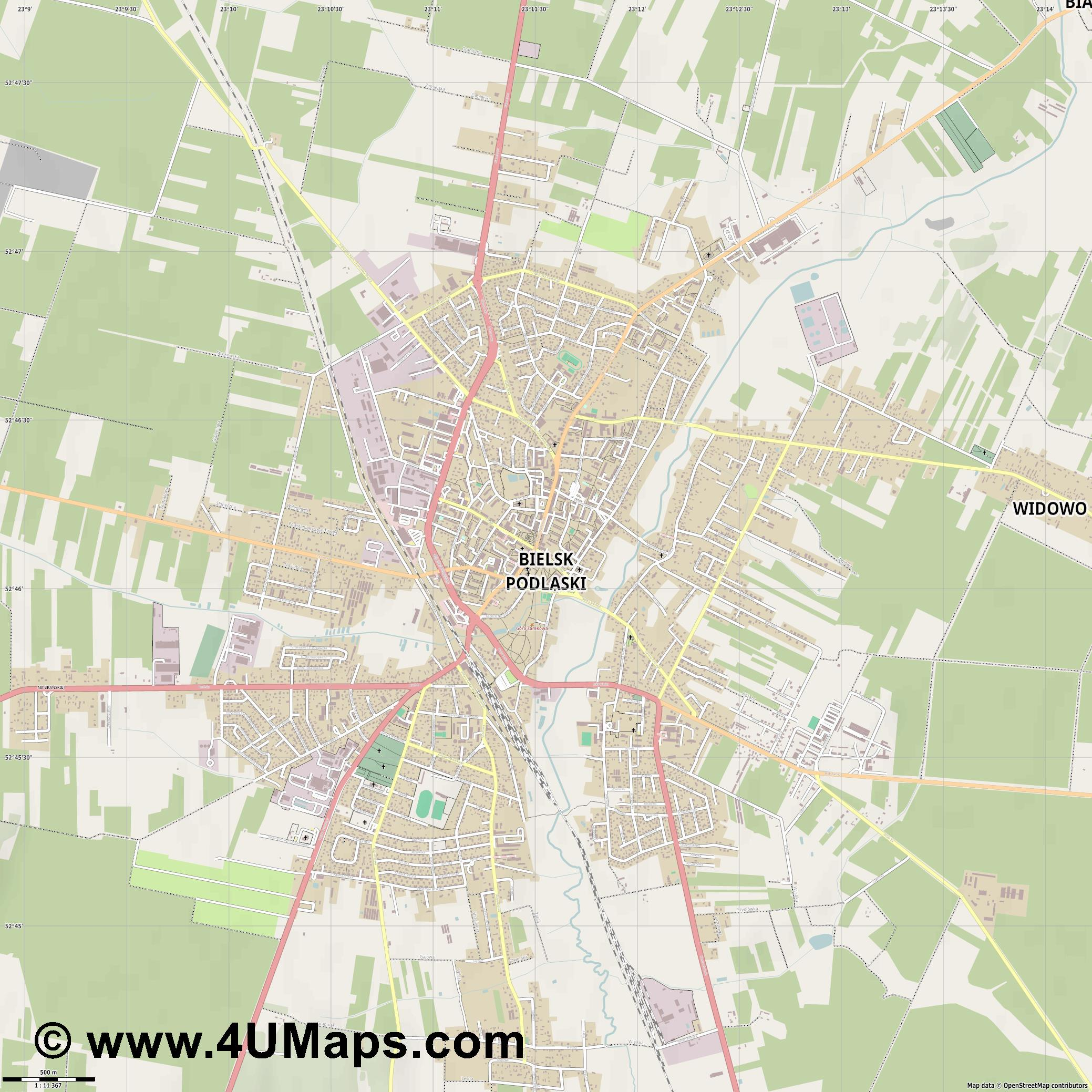 Bielsk Podlaski  jpg ultra high detail preview vector city map