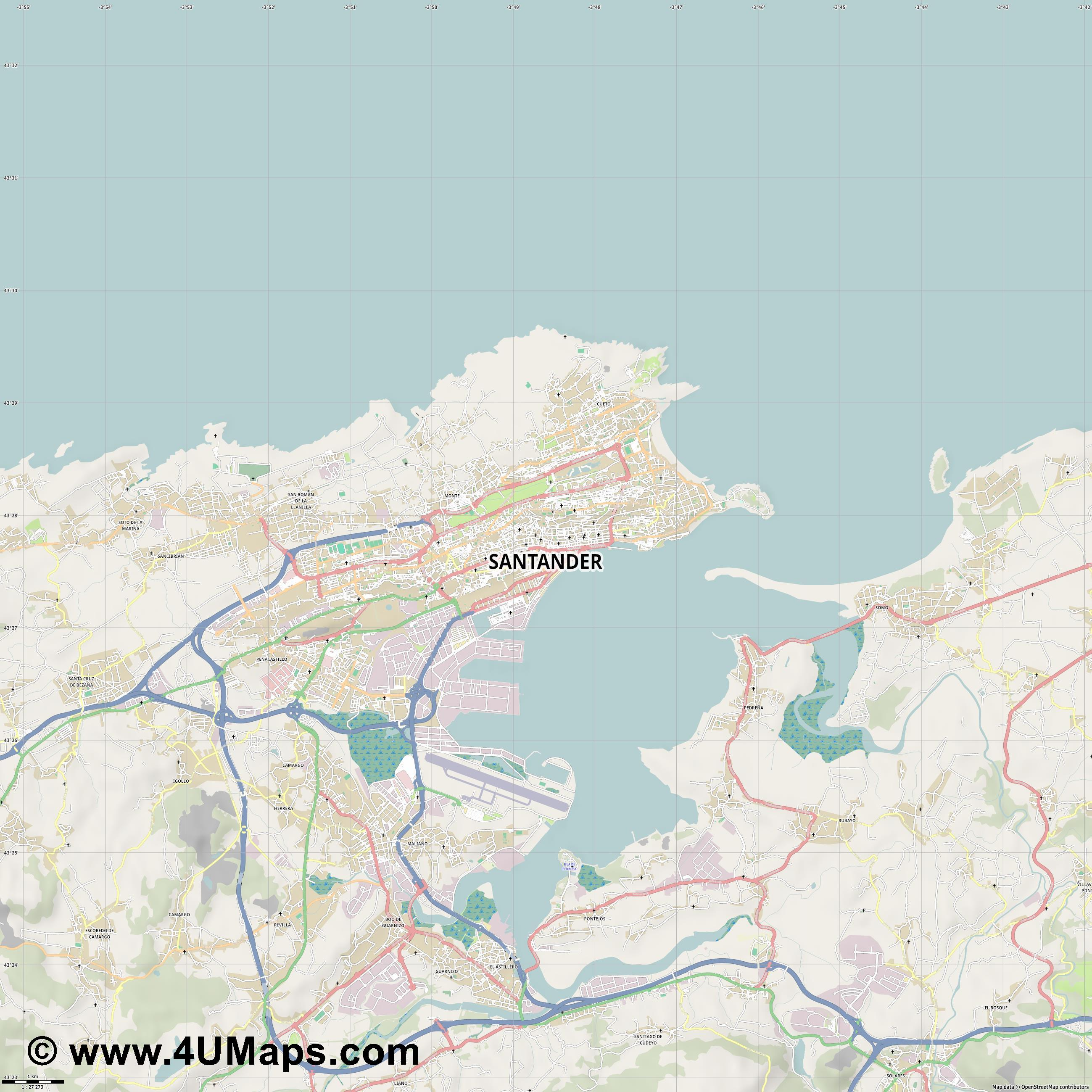 Santander  jpg high detail, large area preview vector city map