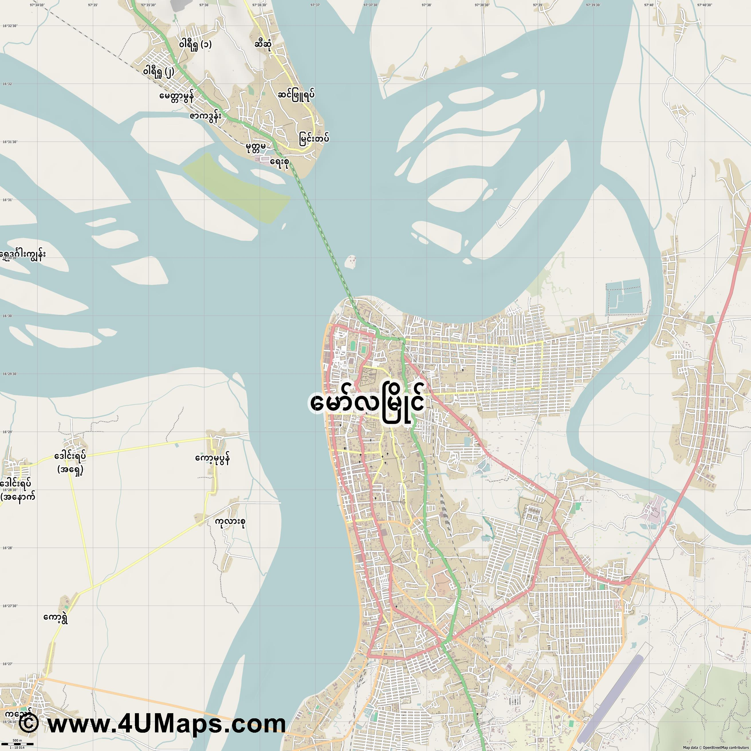 Mawlamying Mawlamyine Mawlamyaing  jpg ultra high detail preview vector city map