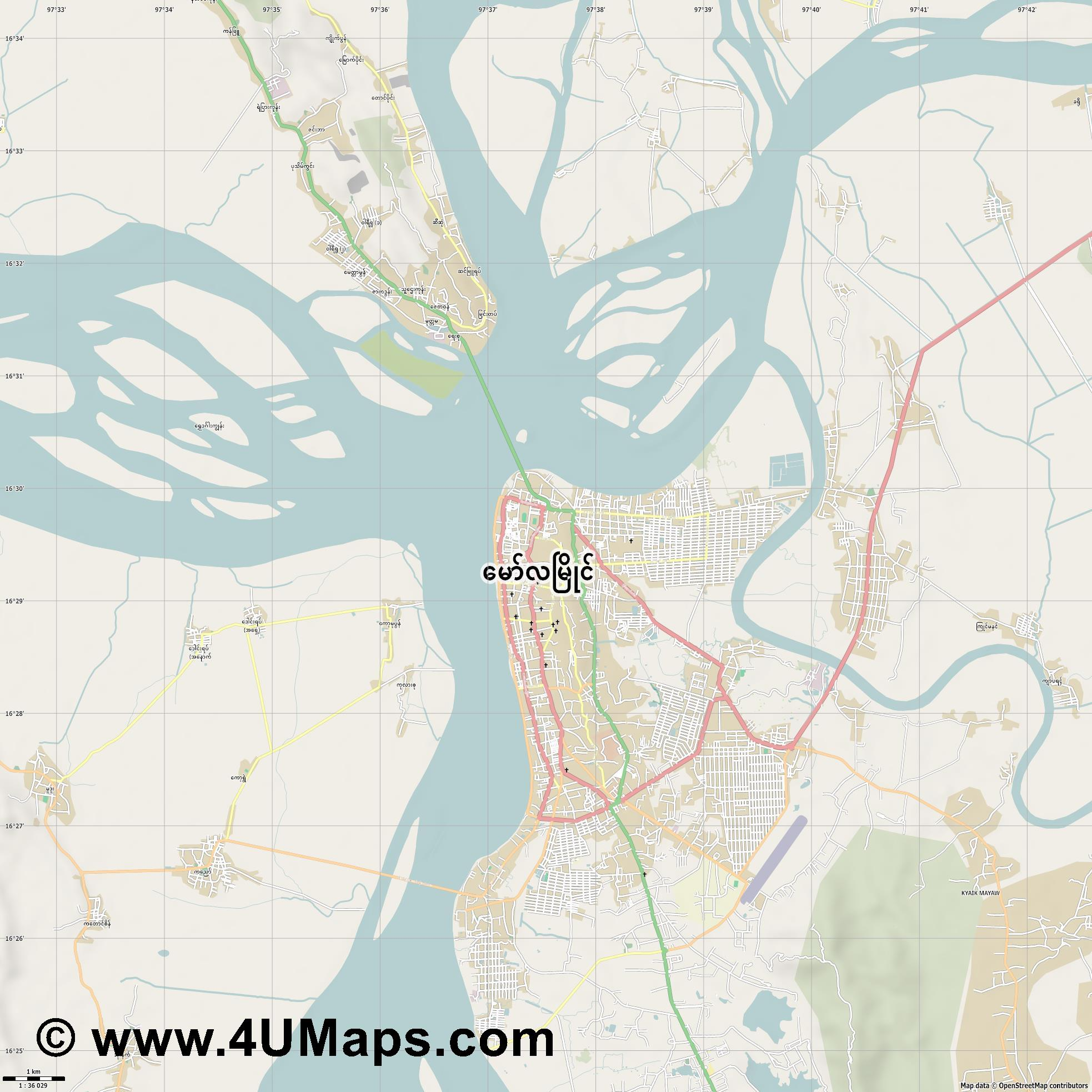 Mawlamying Mawlamyine Mawlamyaing  jpg high detail, large area preview vector city map