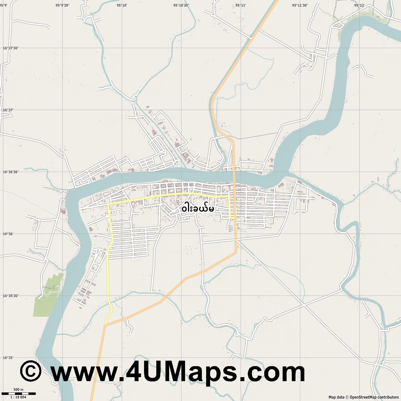 Wakema  jpg ultra high detail preview vector city map