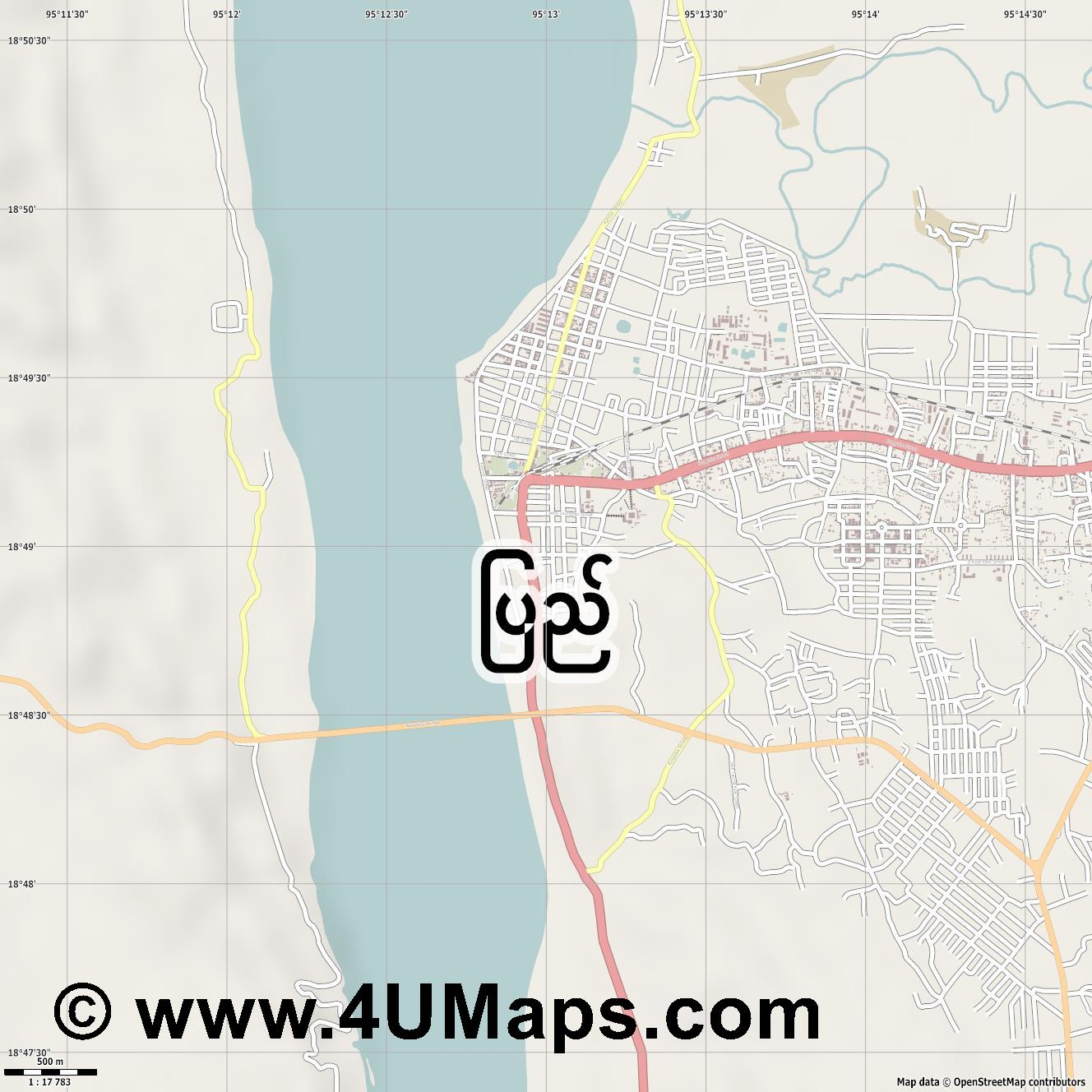 Pyay  jpg ultra high detail preview vector city map