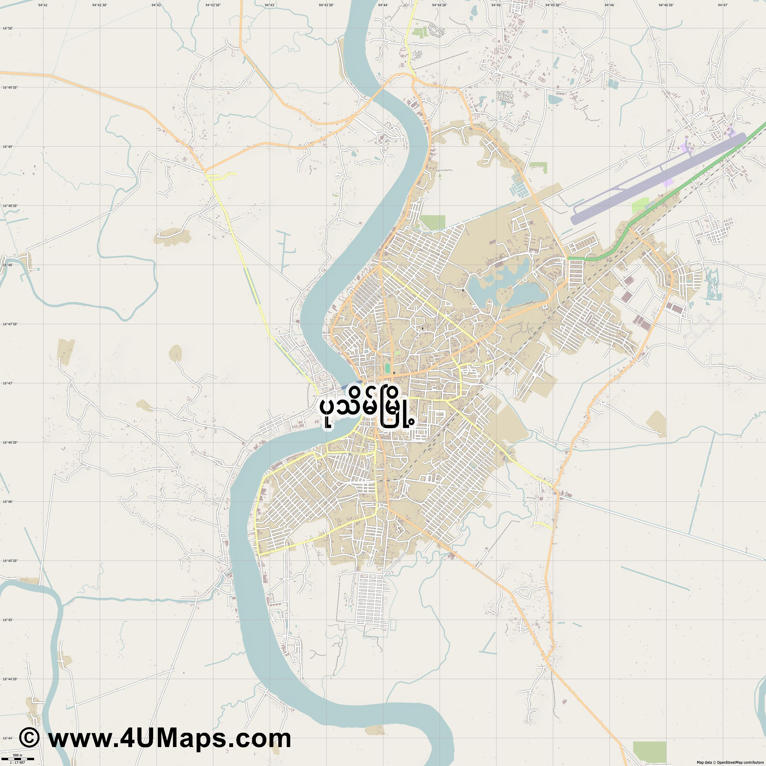 Pathein  jpg ultra high detail preview vector city map
