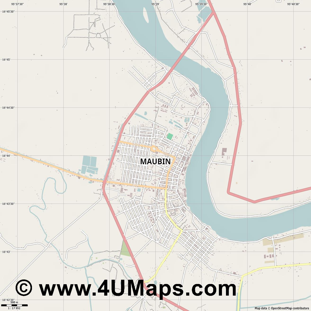 Maubin  jpg ultra high detail preview vector city map