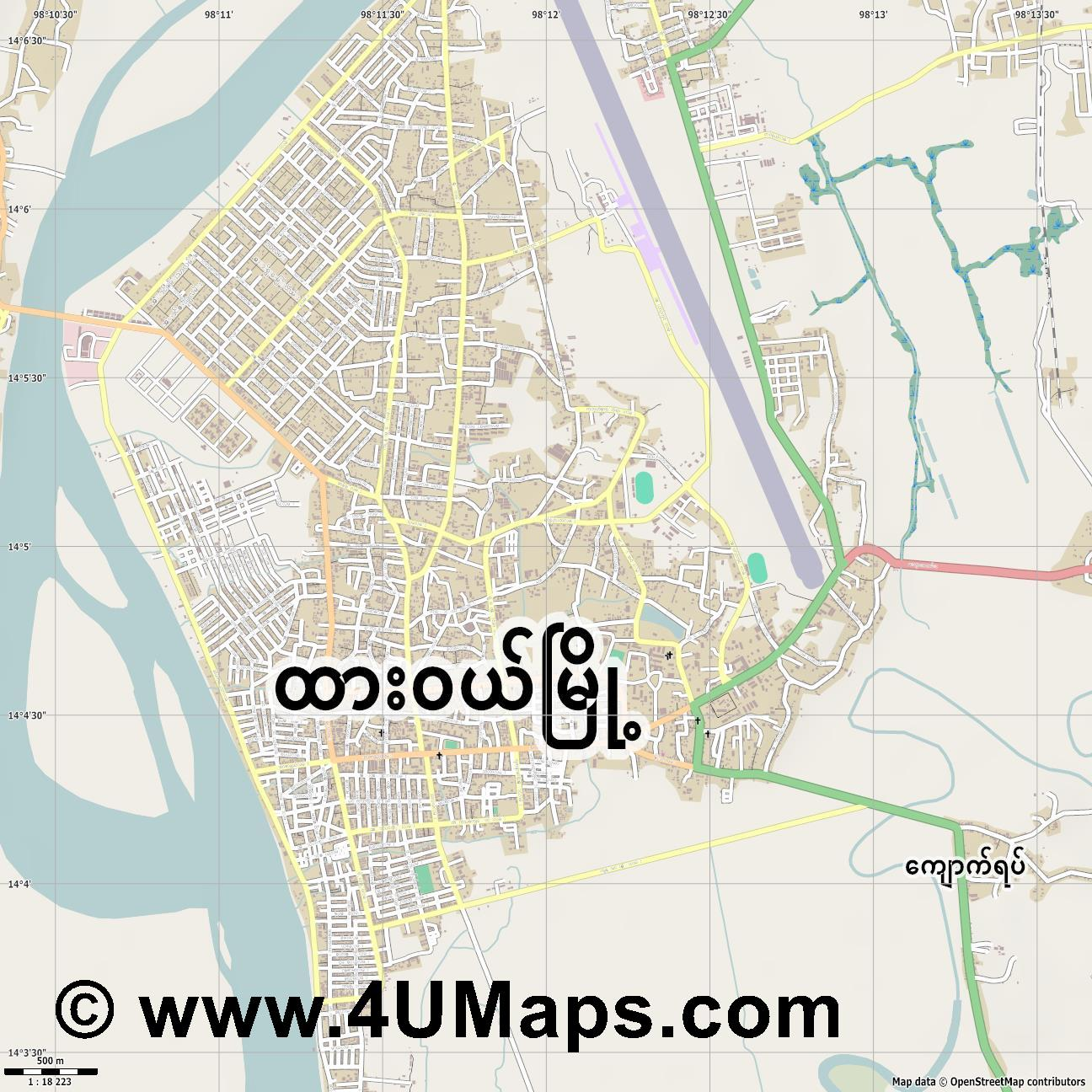 Dawei  jpg ultra high detail preview vector city map