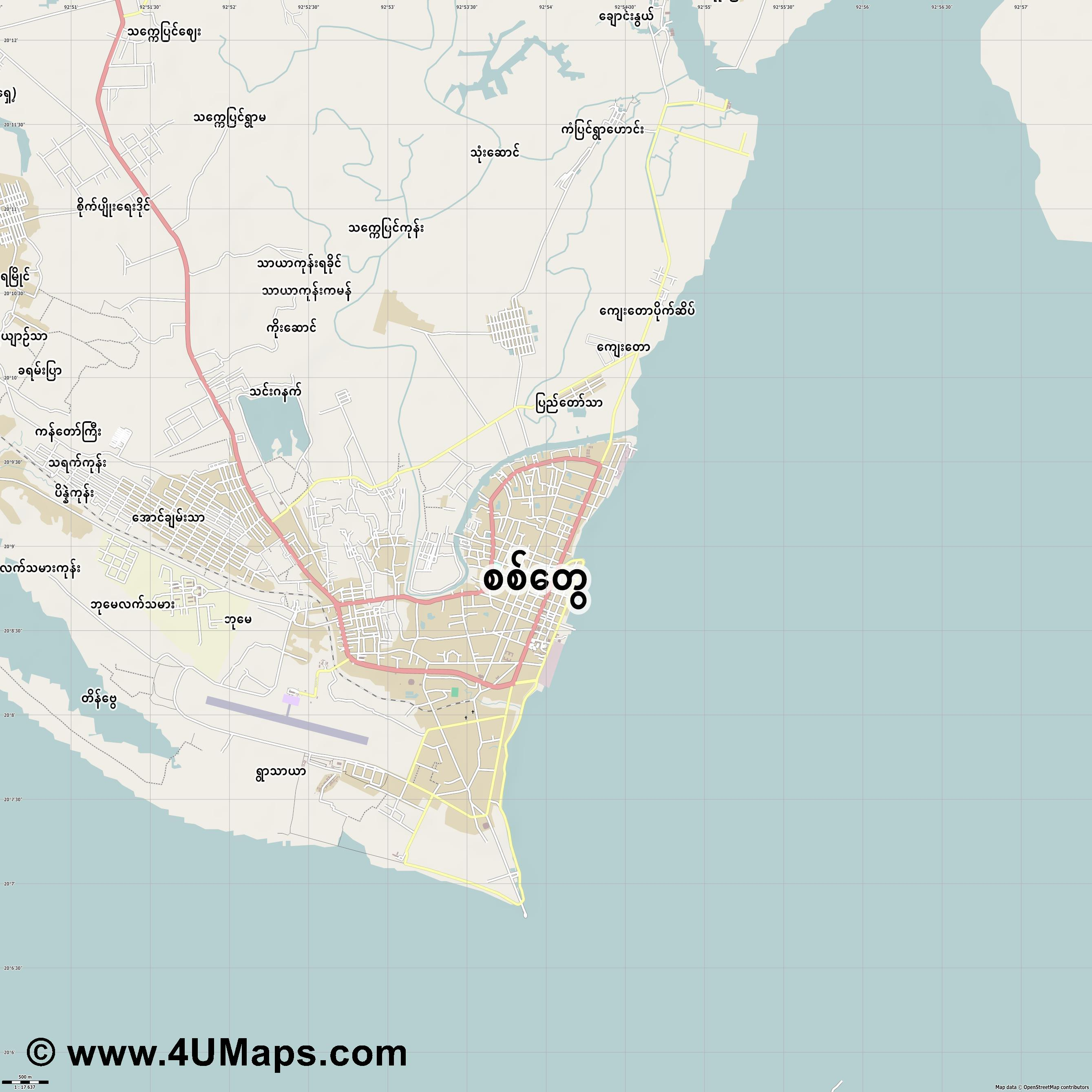 Sittwe  jpg ultra high detail preview vector city map