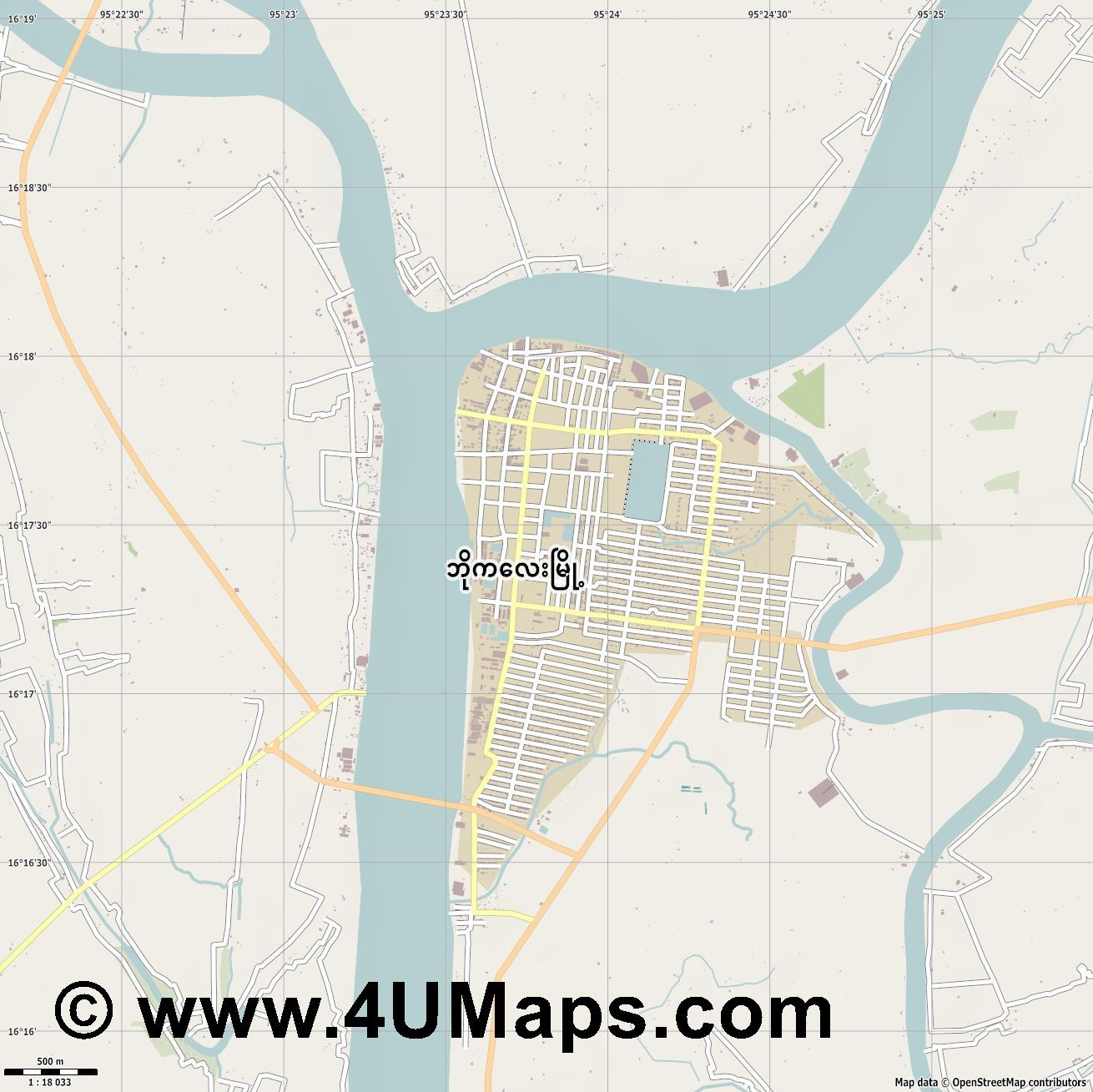 Bogale  jpg ultra high detail preview vector city map