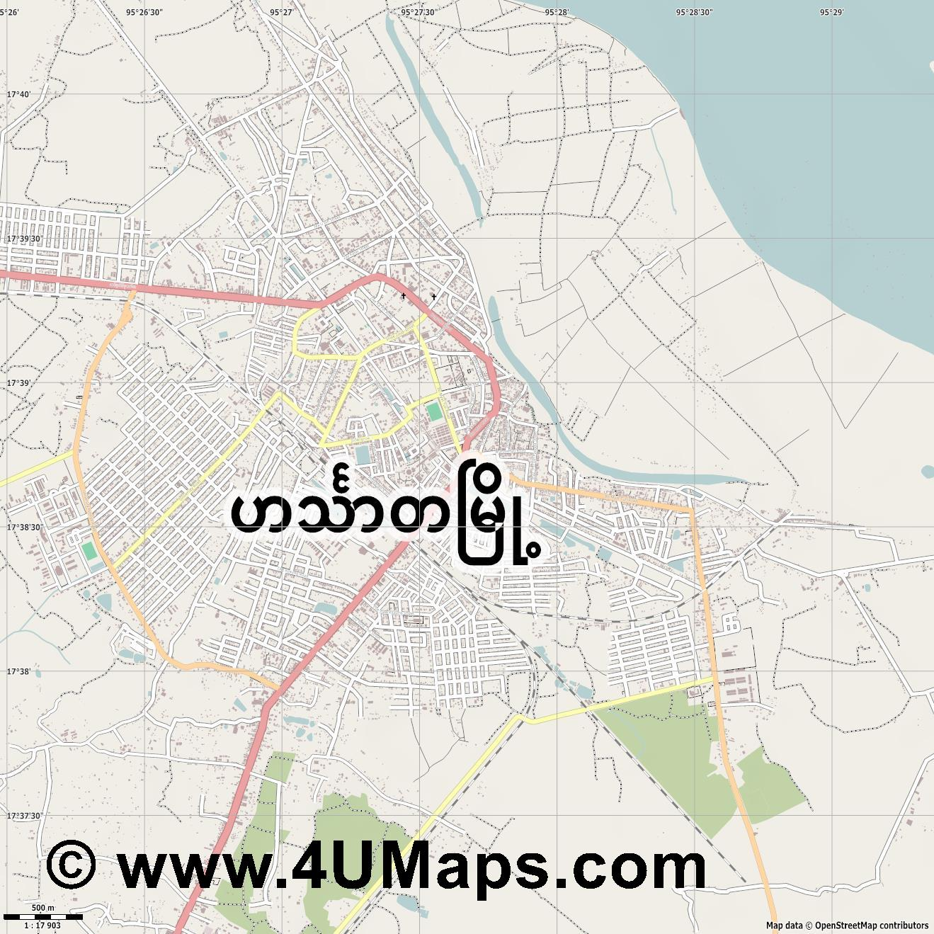 Hinthada Henzada  jpg ultra high detail preview vector city map