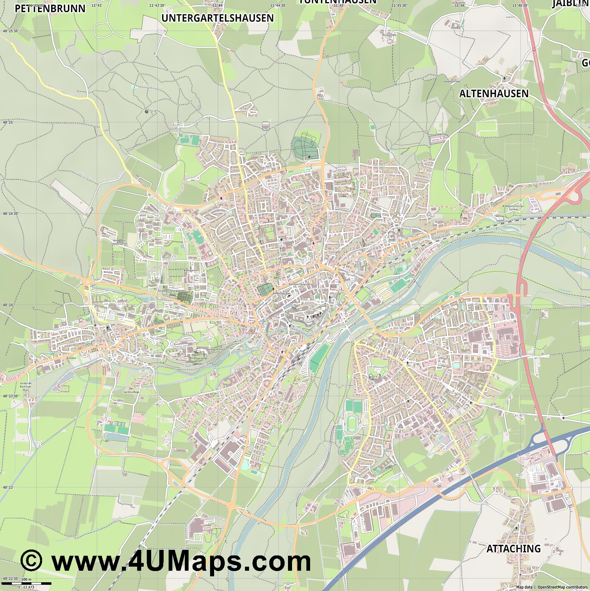 Freising Frisingue  jpg ultra high detail preview vector city map