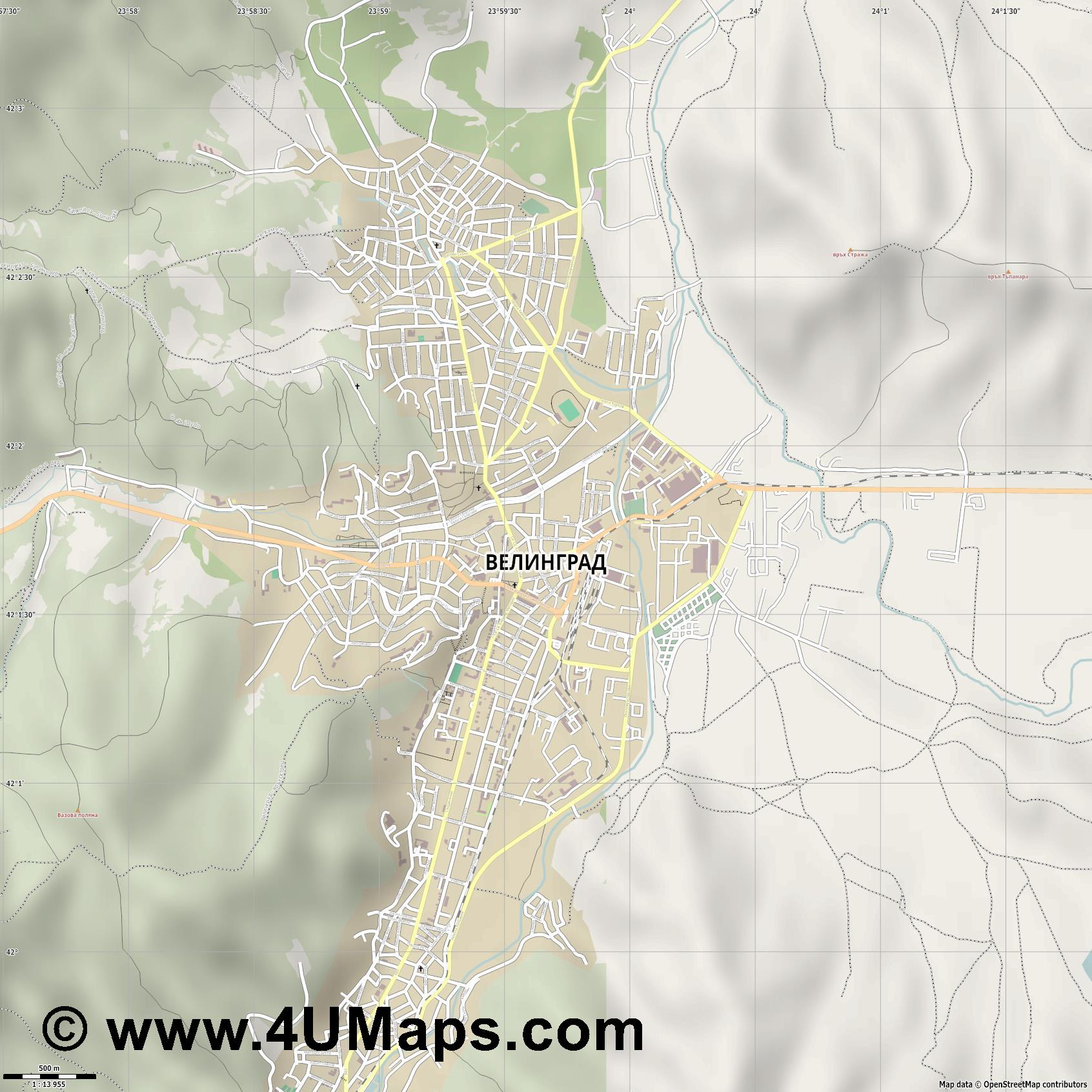 Велинград Velingrad Welingrad  jpg ultra high detail preview vector city map