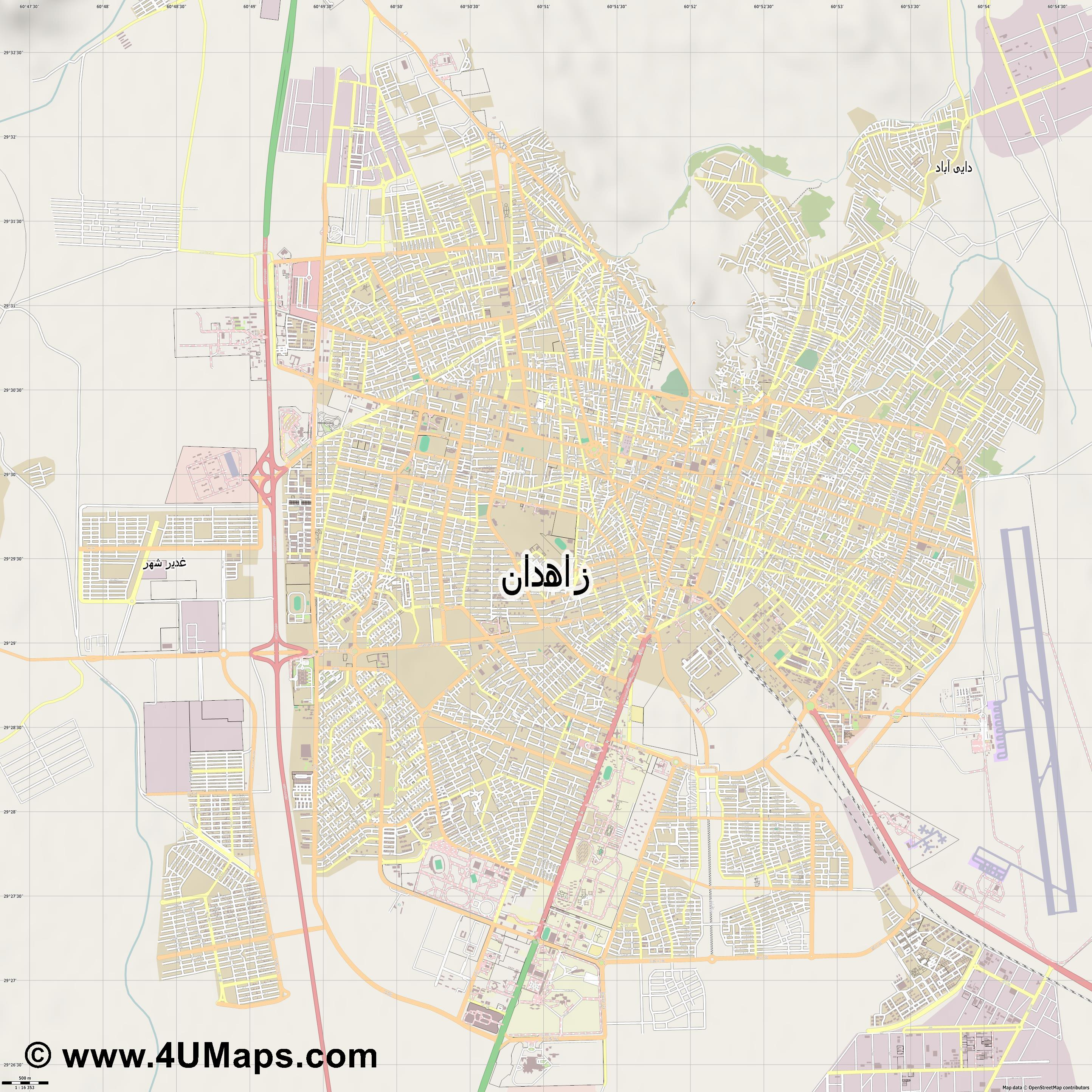 زاهدان Zahedan  jpg ultra high detail preview vector city map