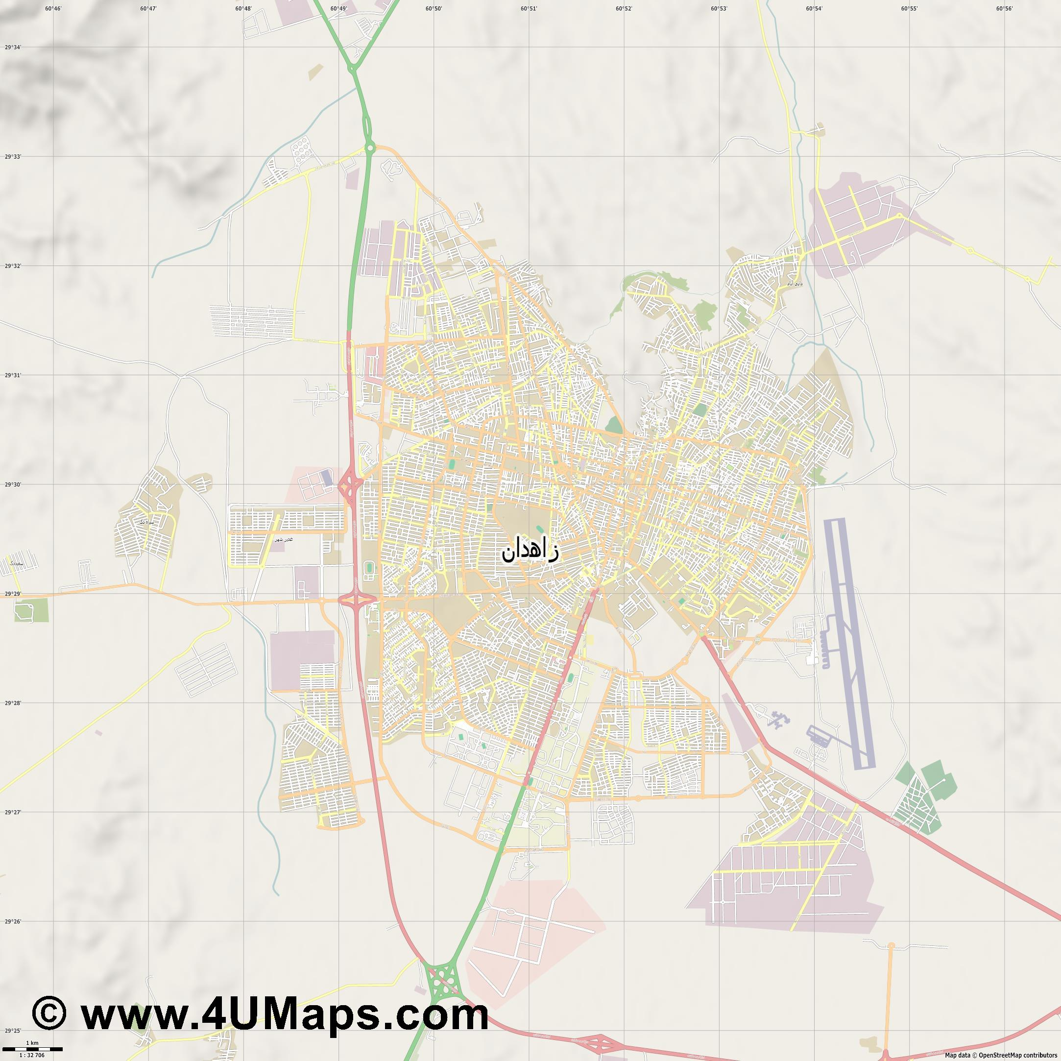 زاهدان Zahedan  jpg high detail, large area preview vector city map