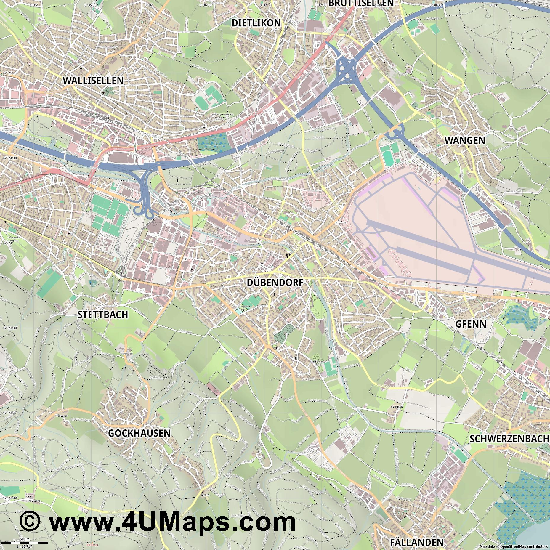 Dübendorf  jpg ultra high detail preview vector city map