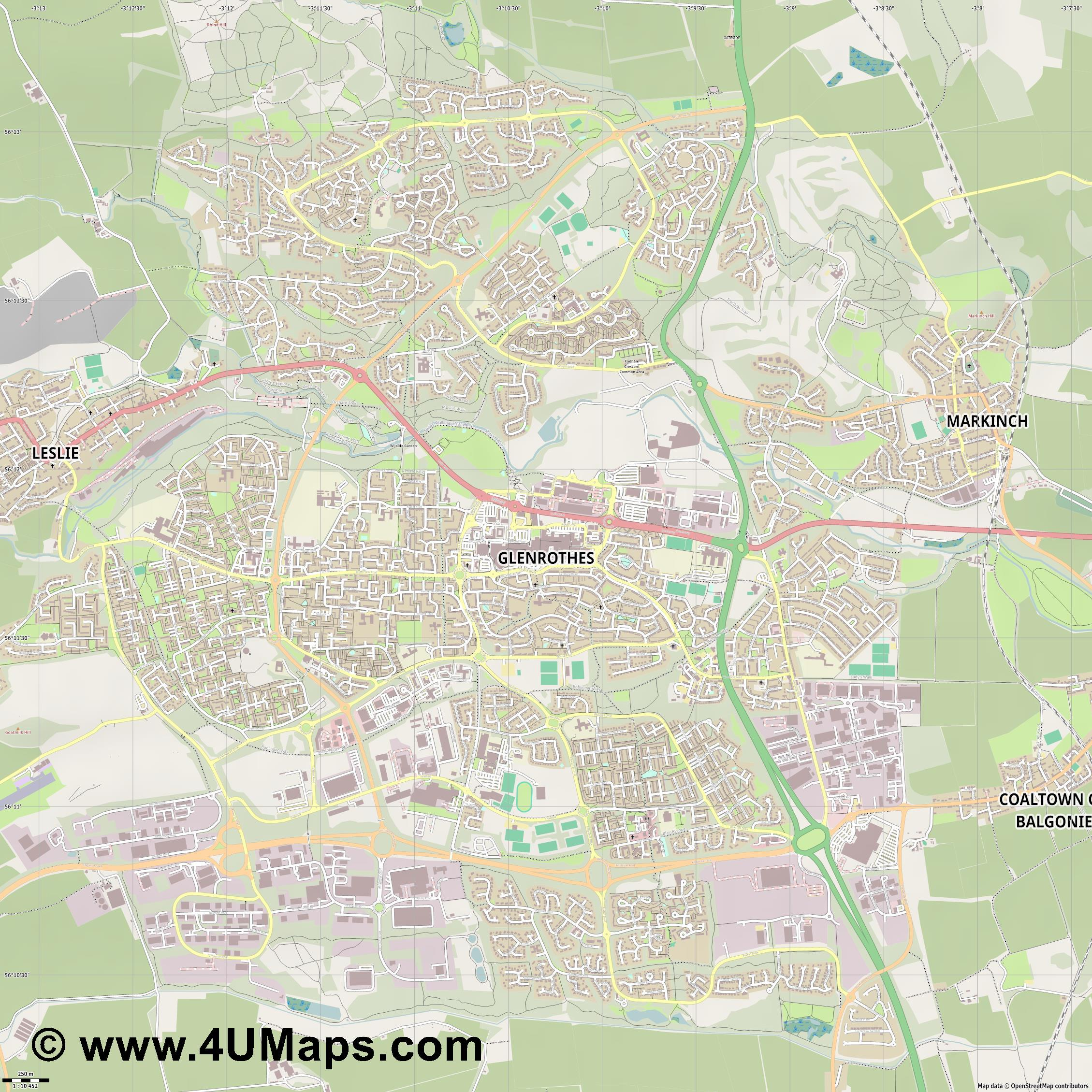 Glenrothes  jpg ultra high detail preview vector city map