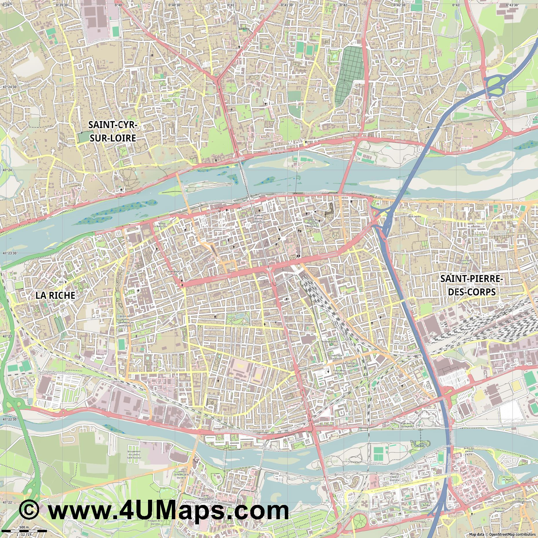 Tours  jpg ultra high detail preview vector city map