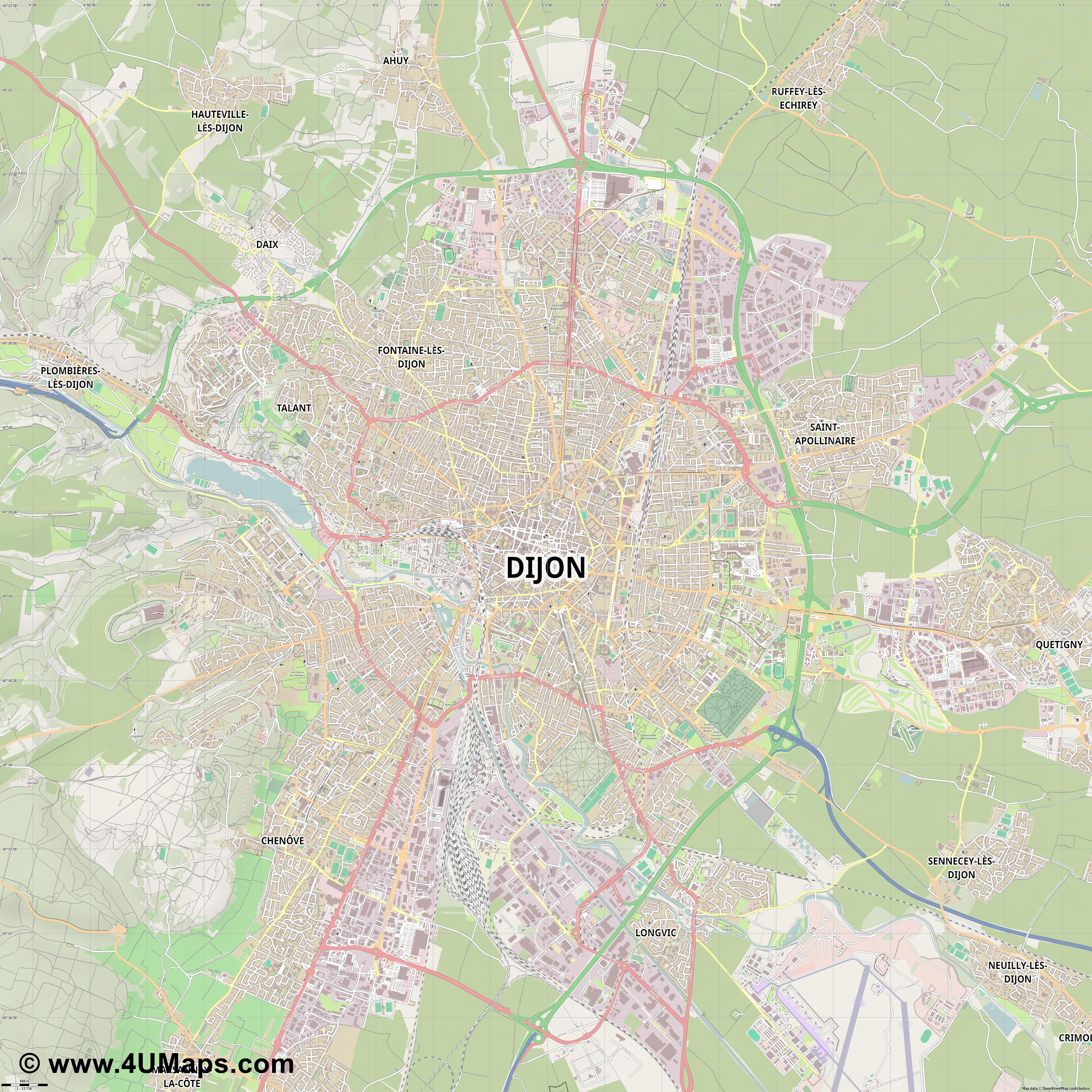 Dijon Digione  jpg ultra high detail preview vector city map