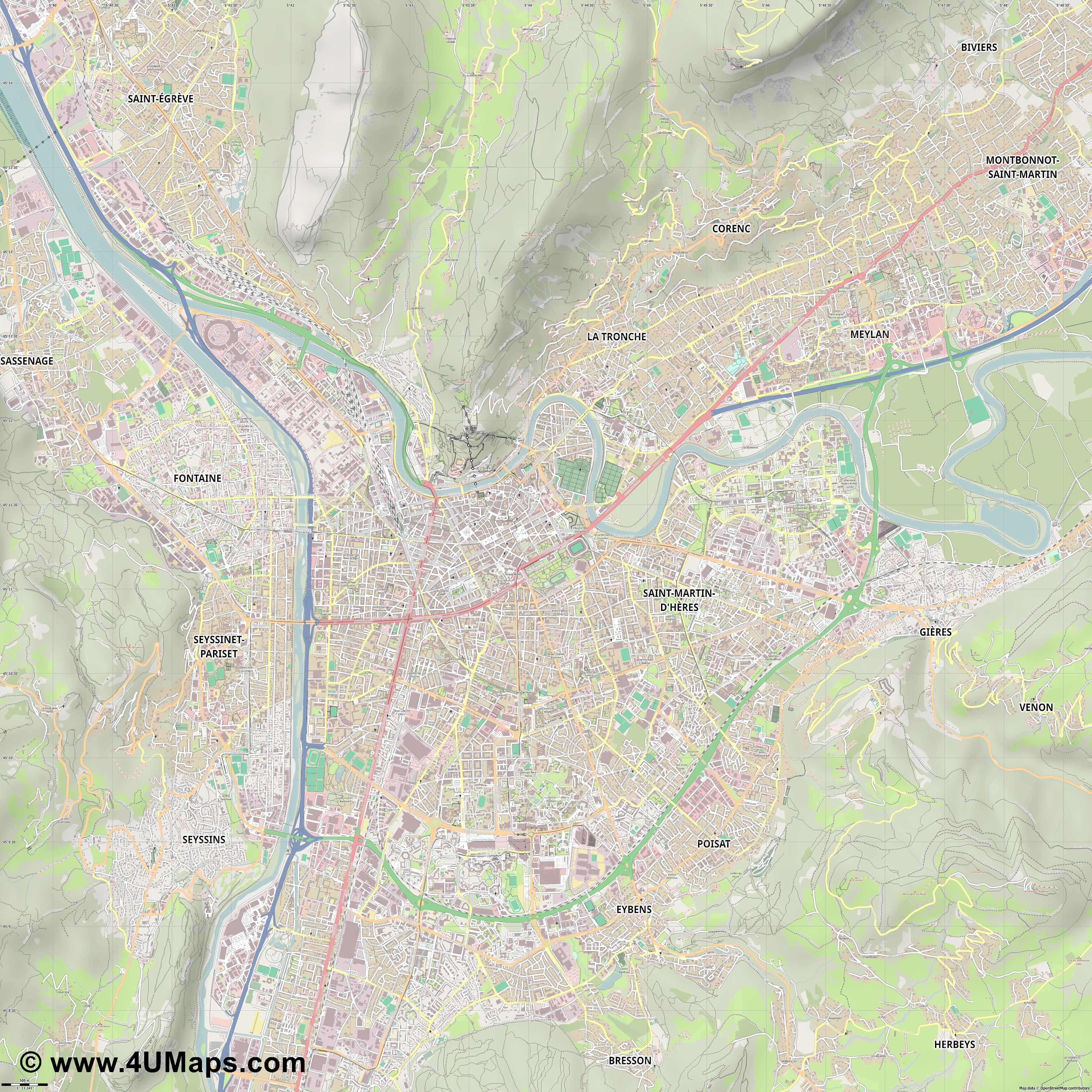 Grenoble  jpg ultra high detail preview vector city map