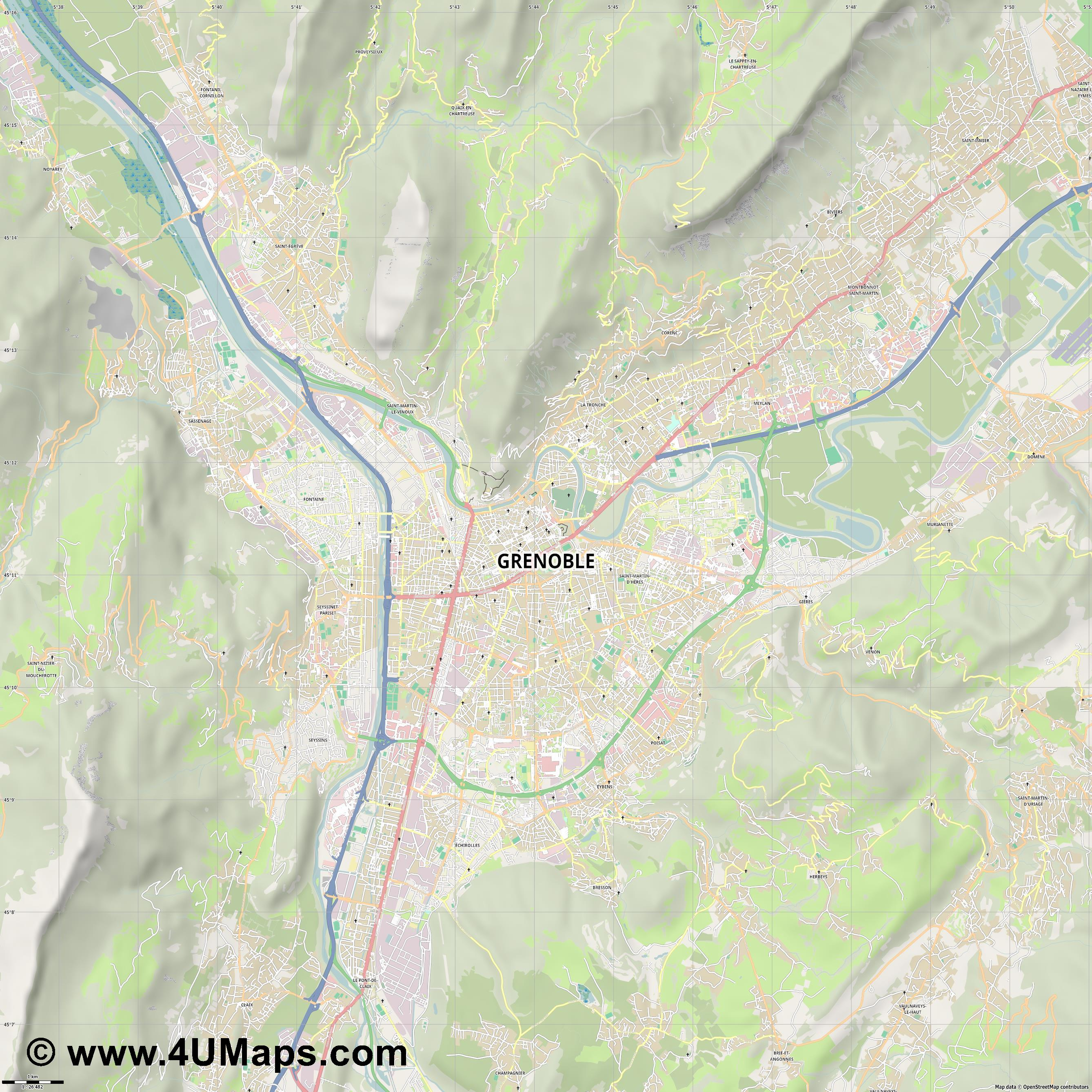 Grenoble  jpg high detail, large area preview vector city map