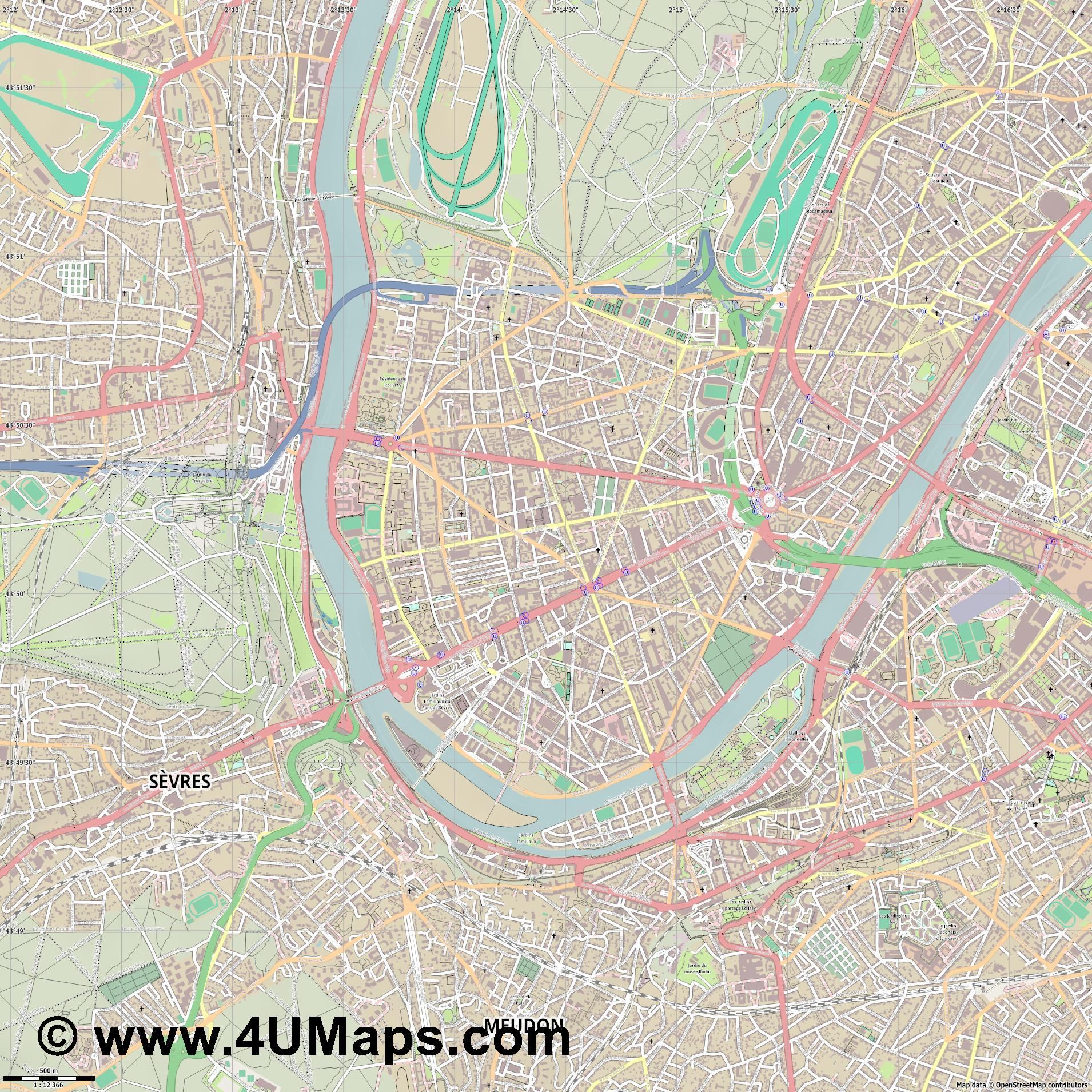 Boulogne Billancourt  jpg ultra high detail preview vector city map