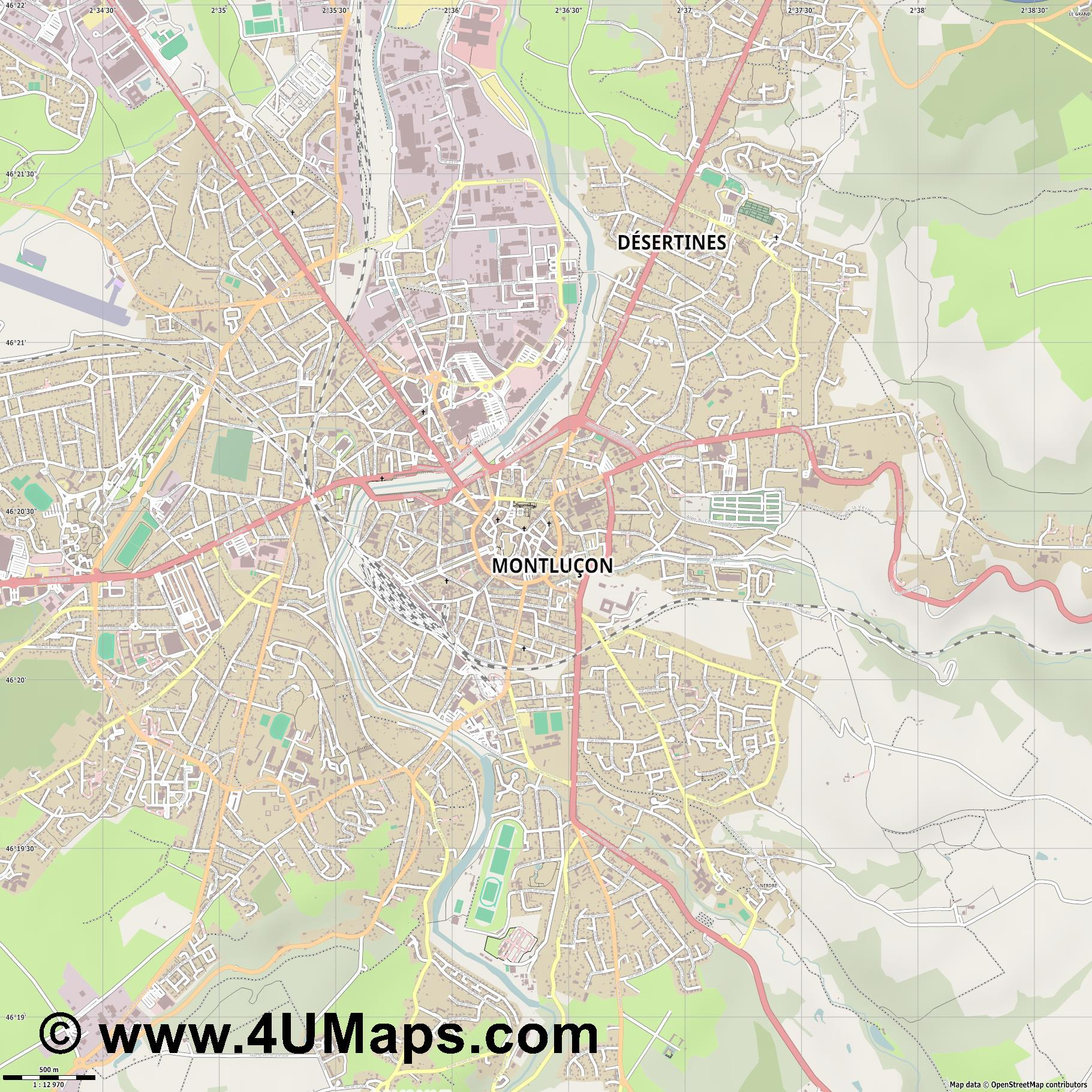 Montluçon  jpg ultra high detail preview vector city map