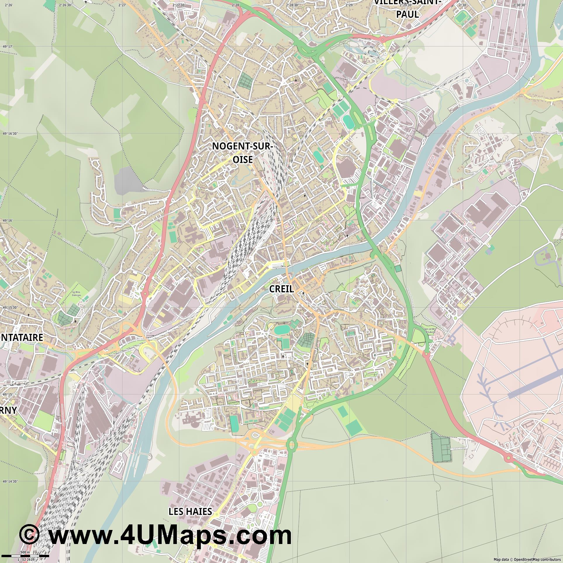 Creil  jpg ultra high detail preview vector city map