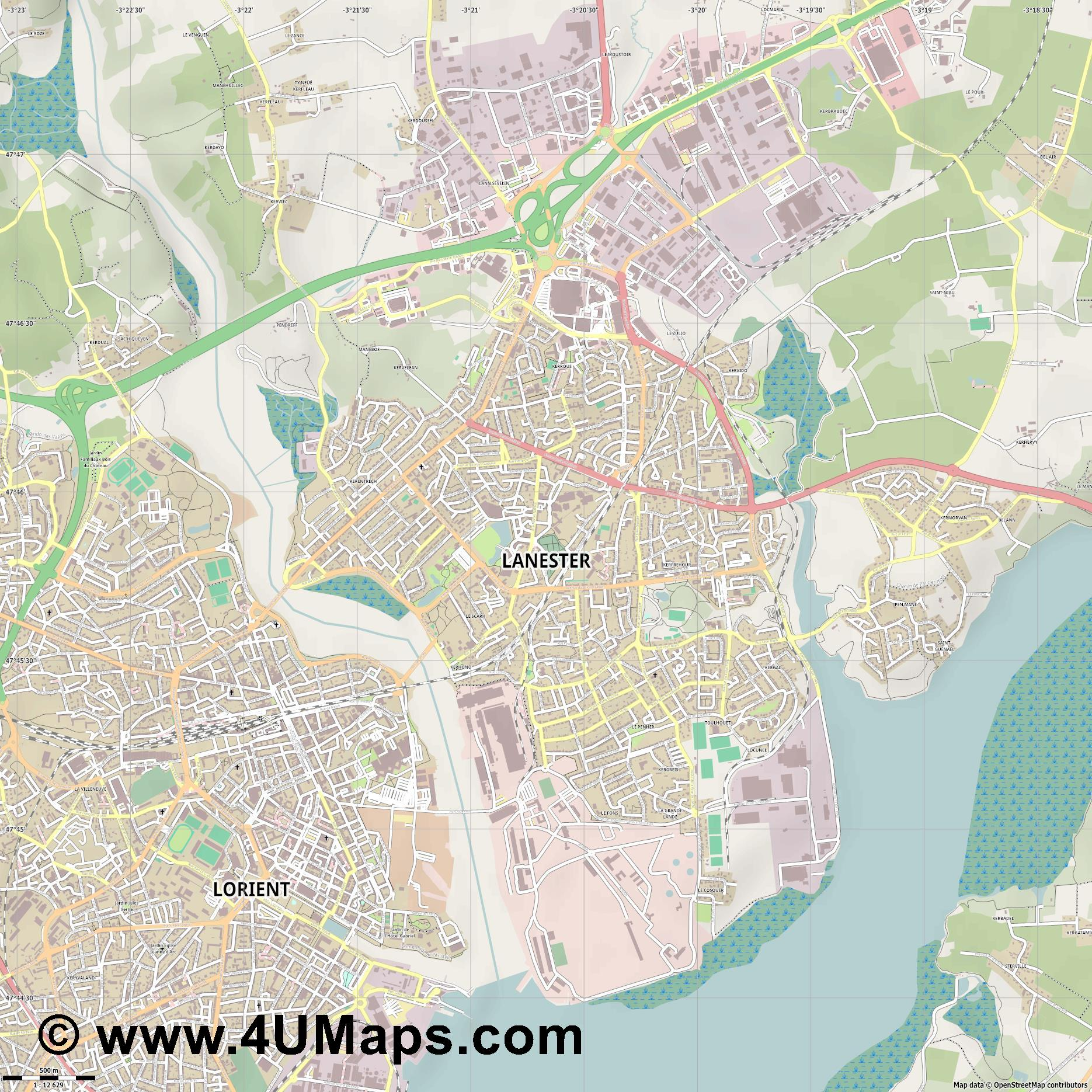 Lanester  jpg ultra high detail preview vector city map