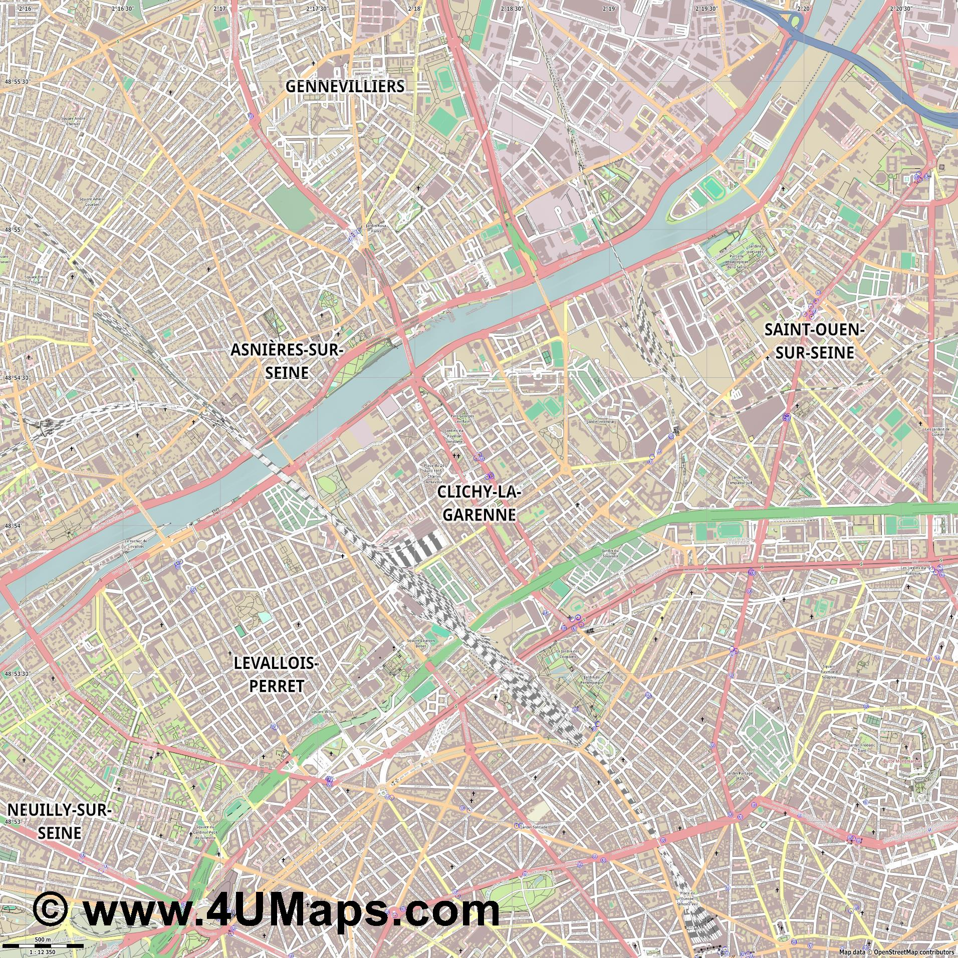 Clichy  jpg ultra high detail preview vector city map