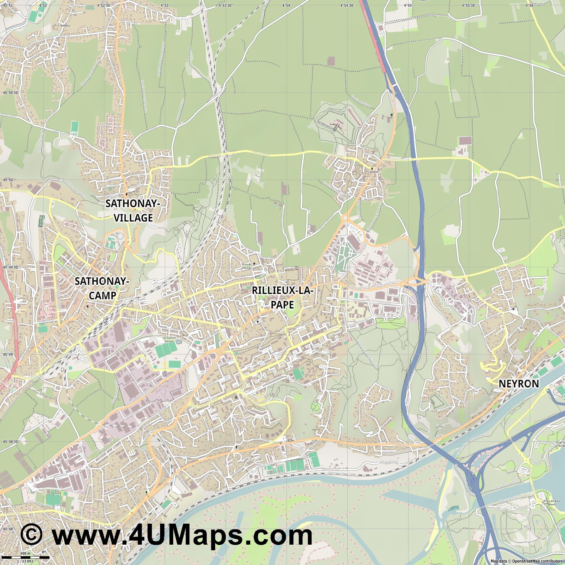 Rillieux la Pape  jpg ultra high detail preview vector city map