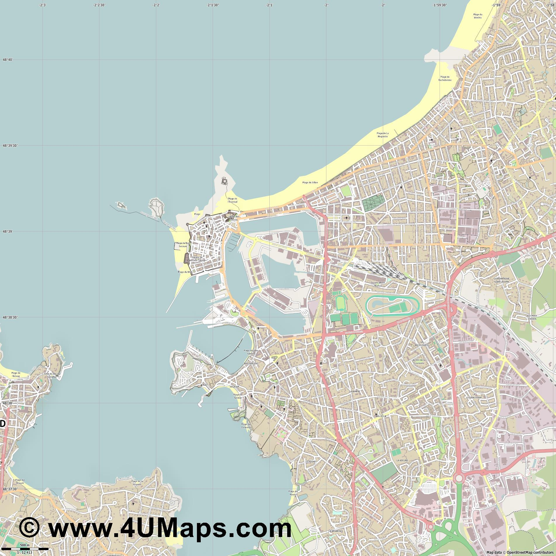 Saint Malo  jpg ultra high detail preview vector city map