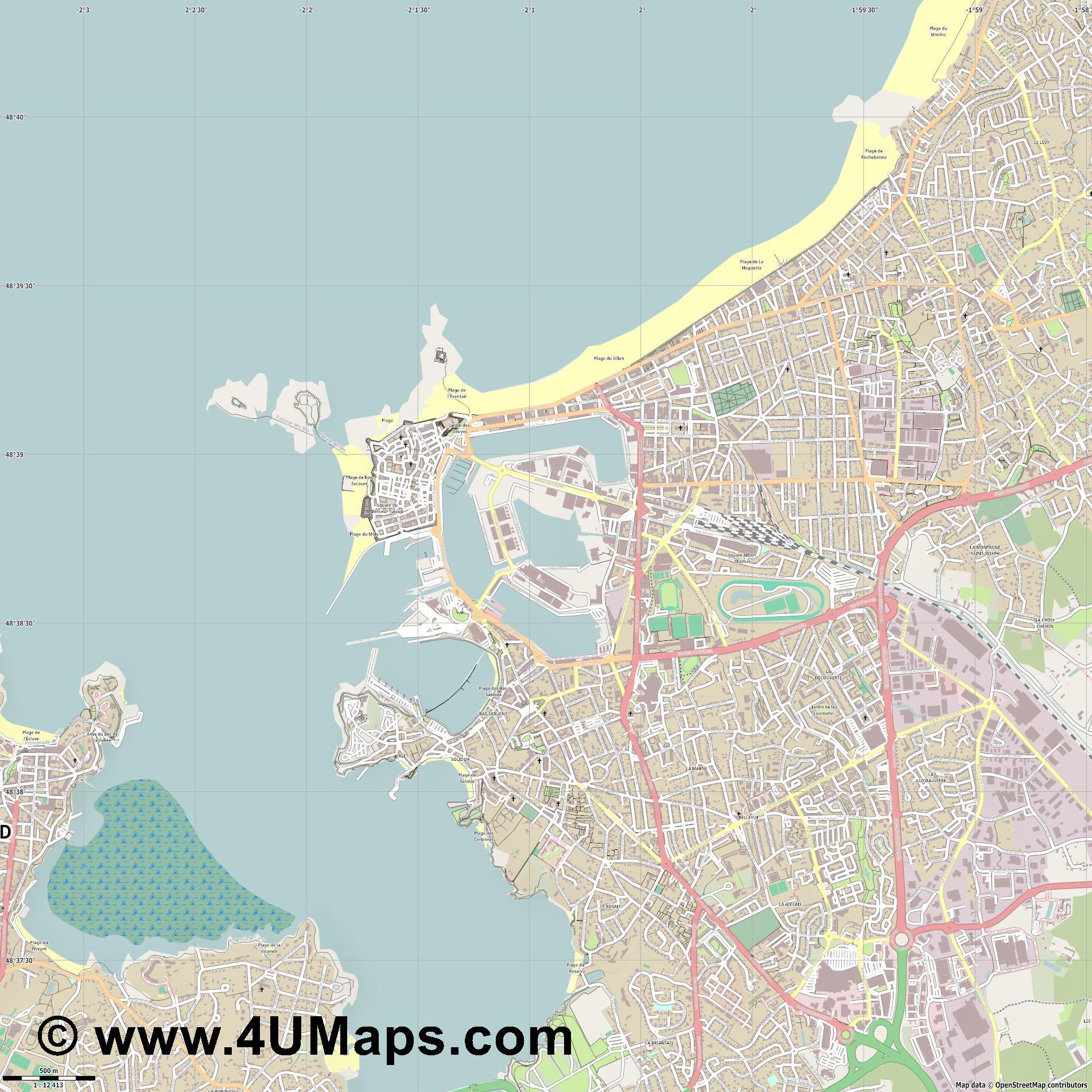PDF, Svg Scalable Vector City Map Saint Malo