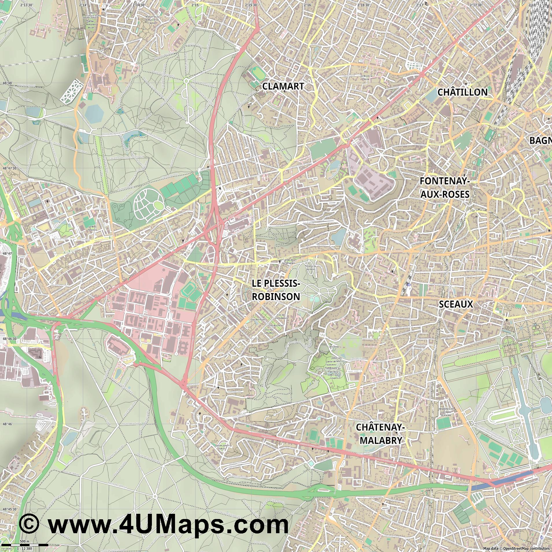 Le Plessis Robinson  jpg ultra high detail preview vector city map