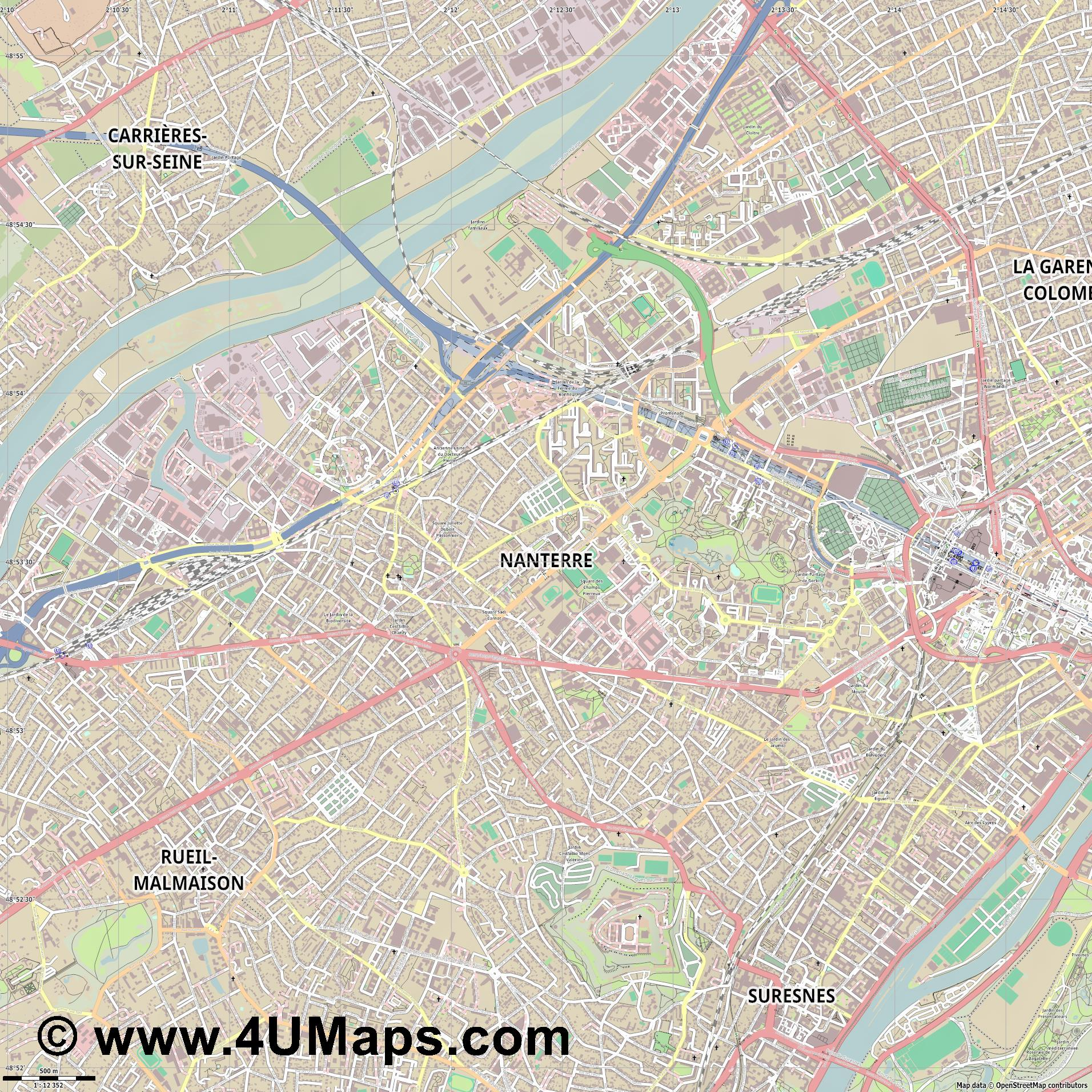 Nanterre  jpg ultra high detail preview vector city map