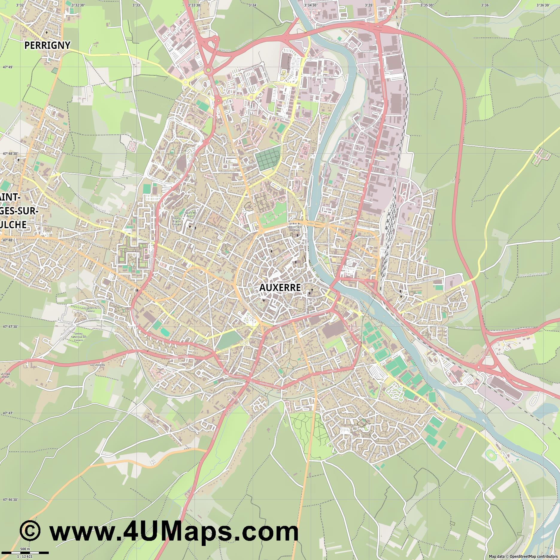 Auxerre  jpg ultra high detail preview vector city map