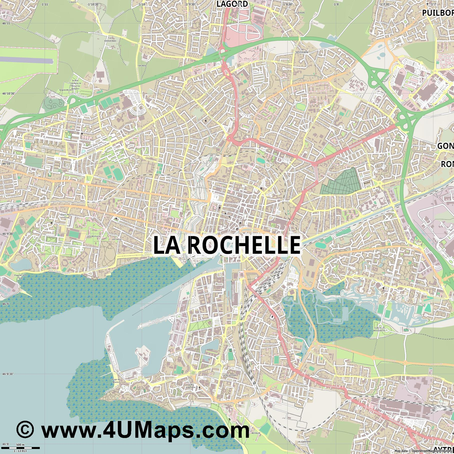 La Rochelle  jpg ultra high detail preview vector city map