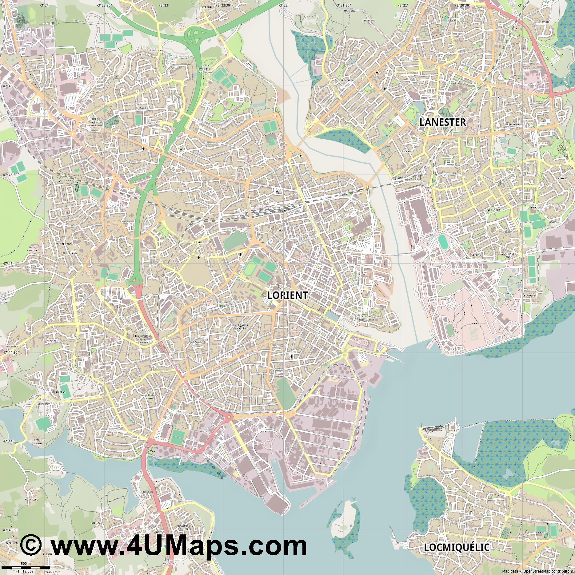 Lorient  jpg ultra high detail preview vector city map