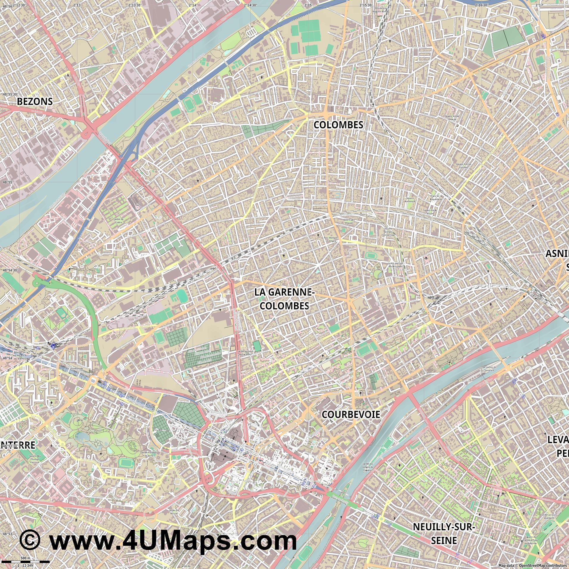 La Garenne Colombes  jpg ultra high detail preview vector city map