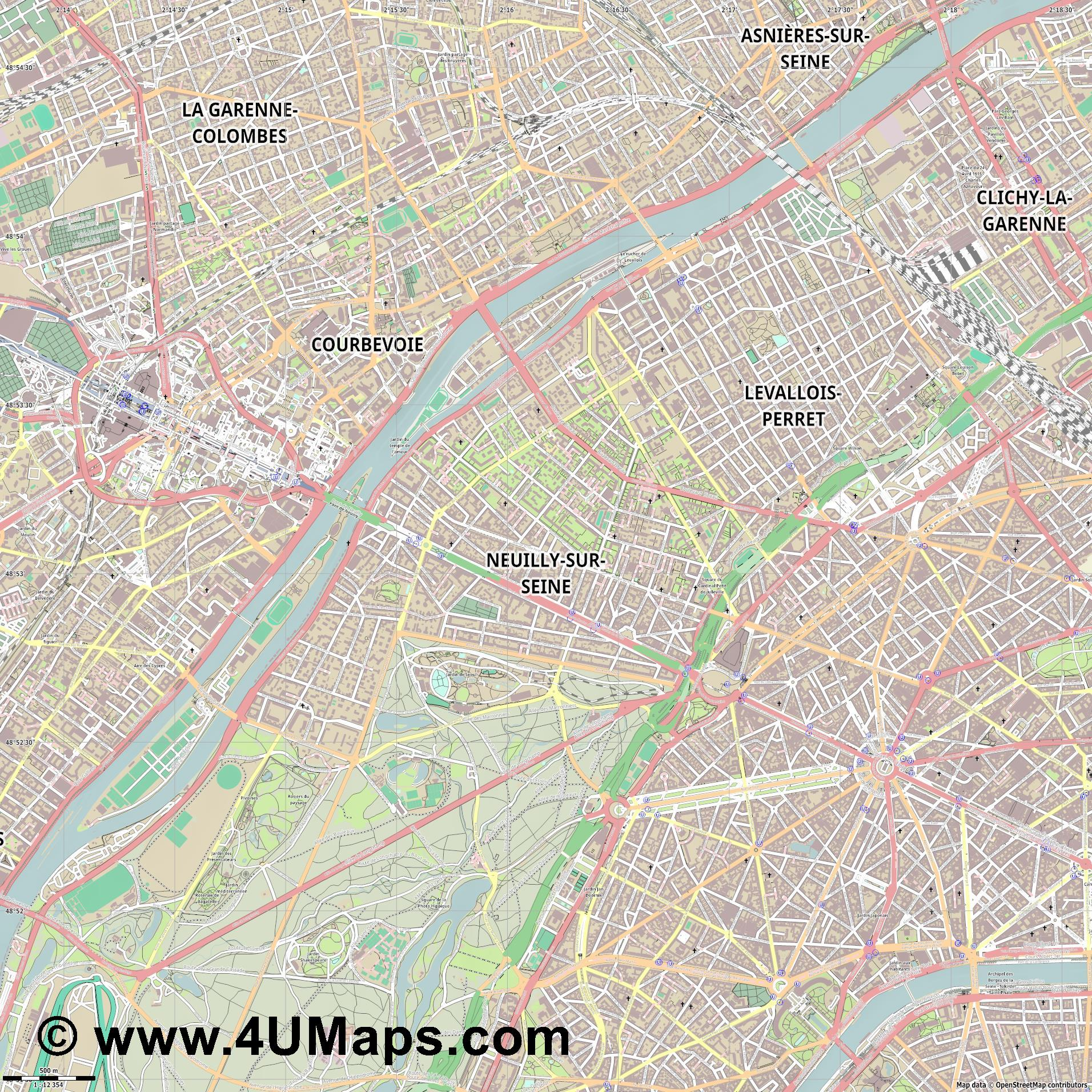 Neuilly sur Seine  jpg ultra high detail preview vector city map