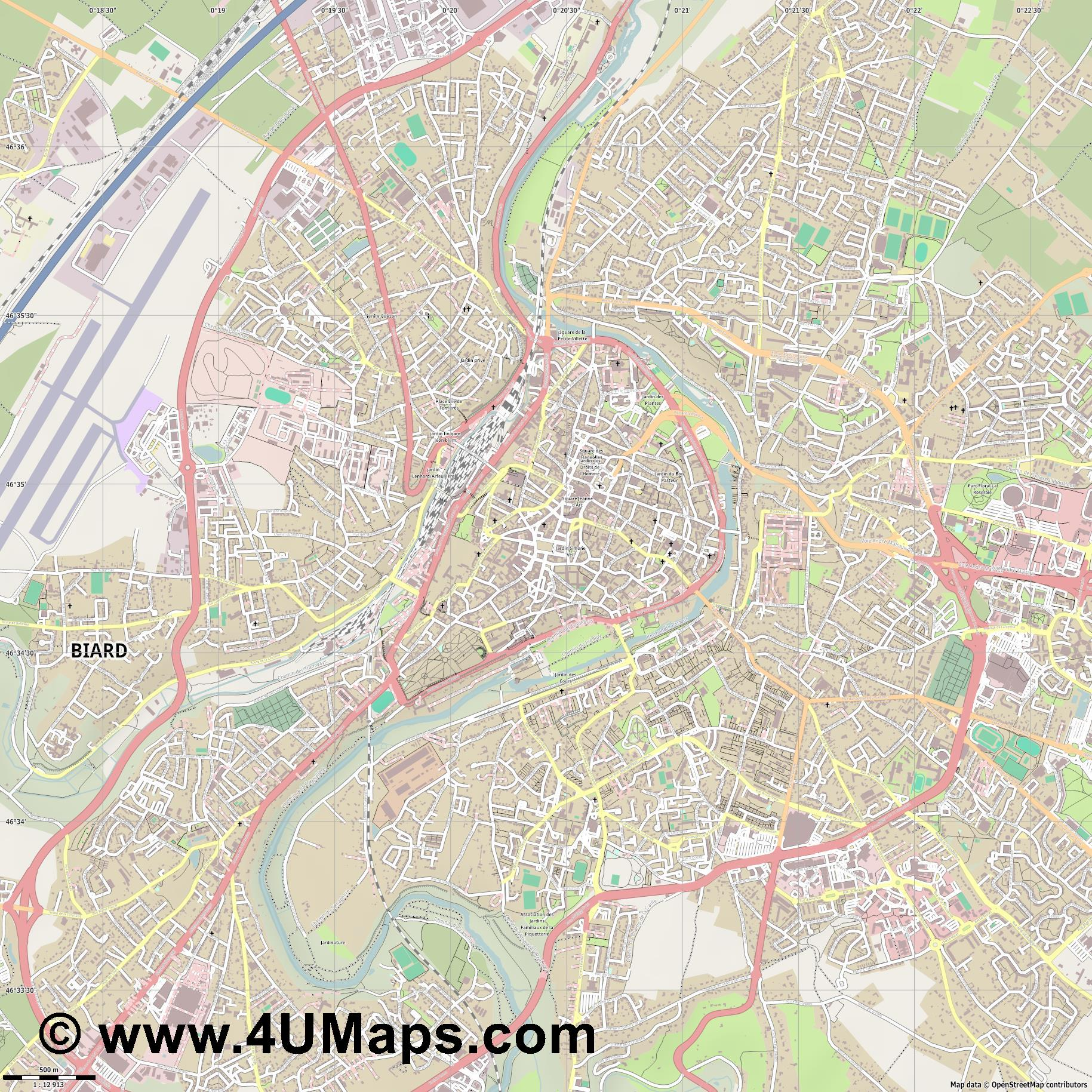 Poitiers  jpg ultra high detail preview vector city map