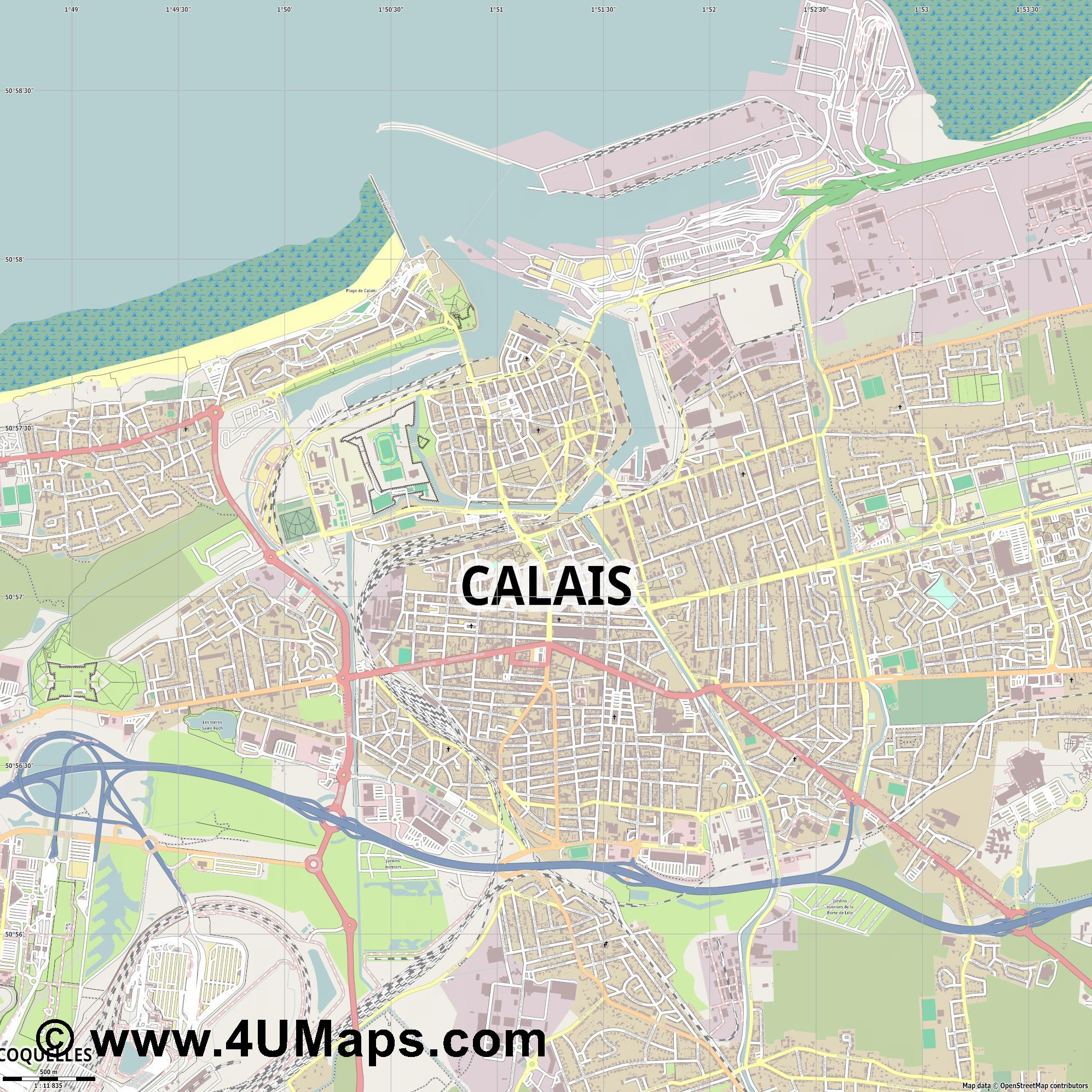 Calais  jpg ultra high detail preview vector city map