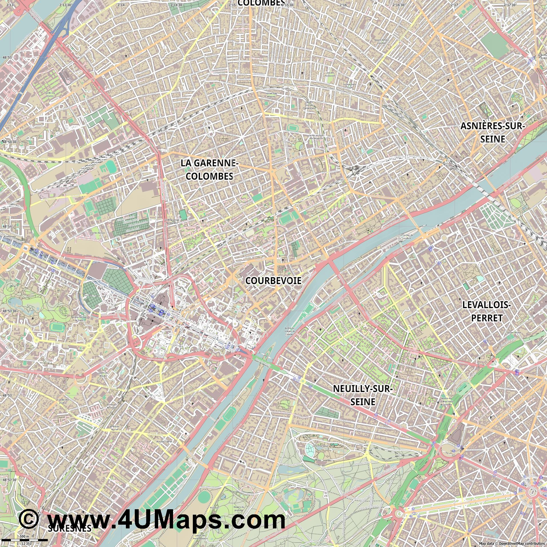 Courbevoie  jpg ultra high detail preview vector city map