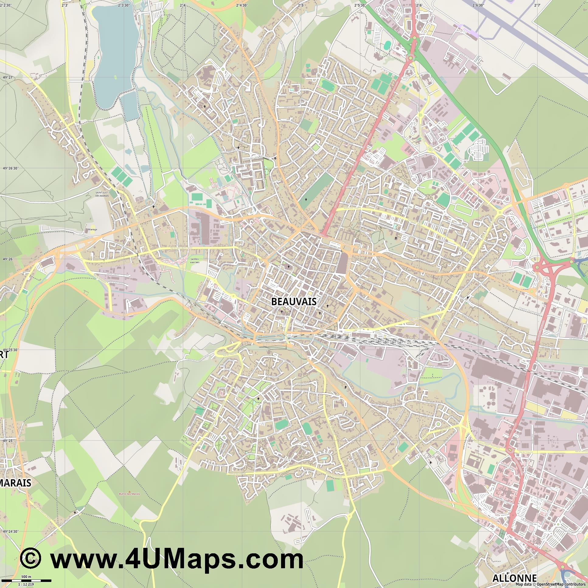 Beauvais  jpg ultra high detail preview vector city map