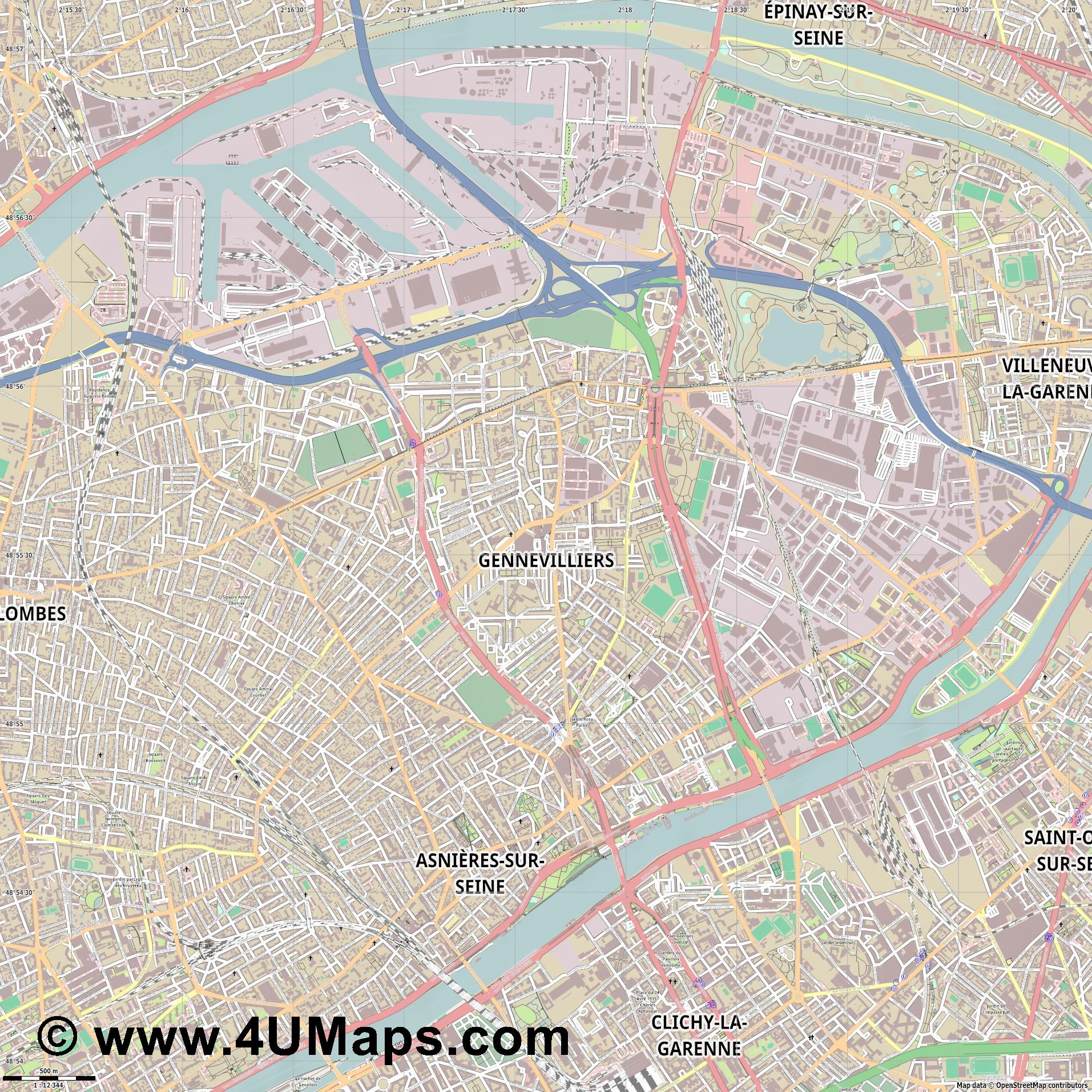 Gennevilliers  jpg ultra high detail preview vector city map