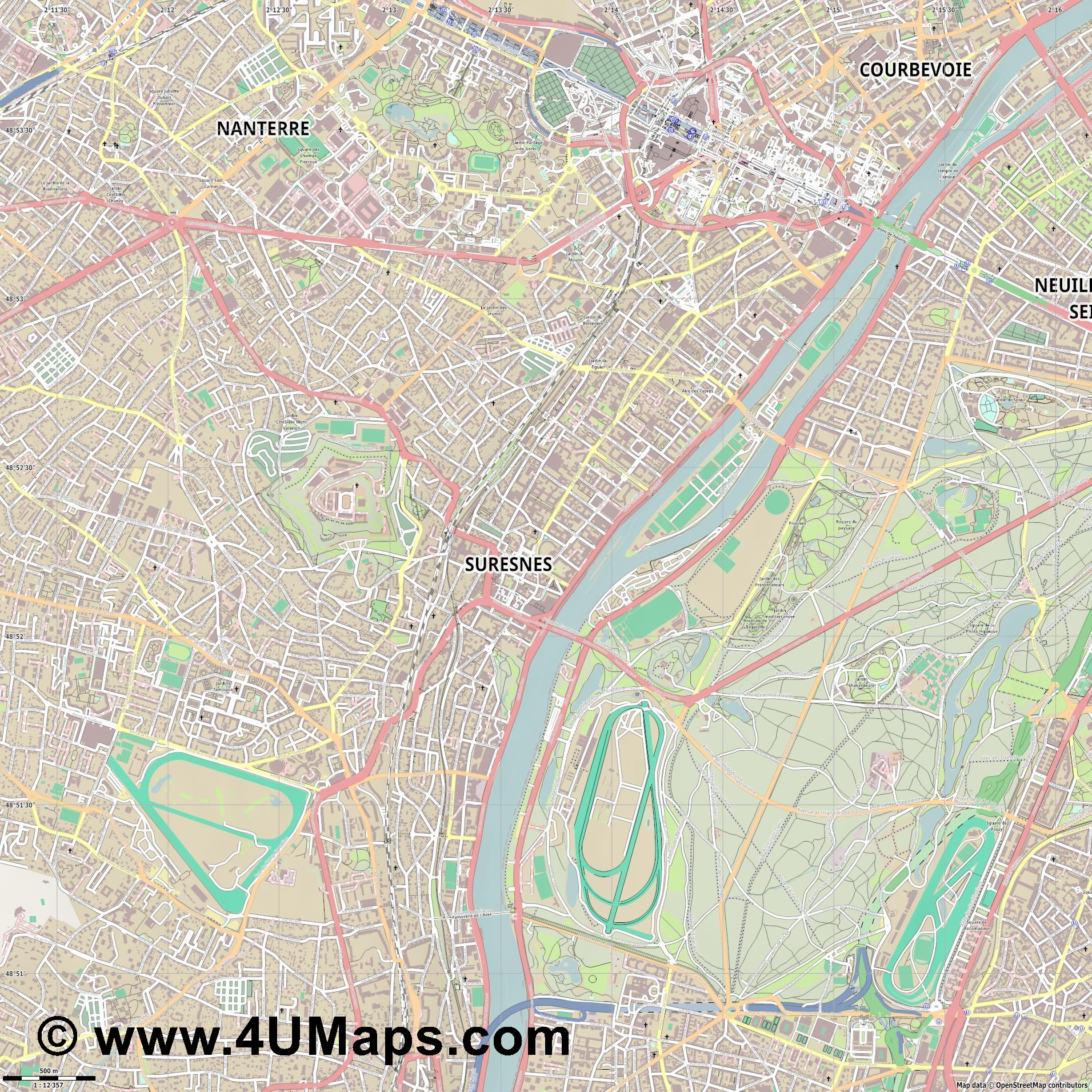 Suresnes  jpg ultra high detail preview vector city map