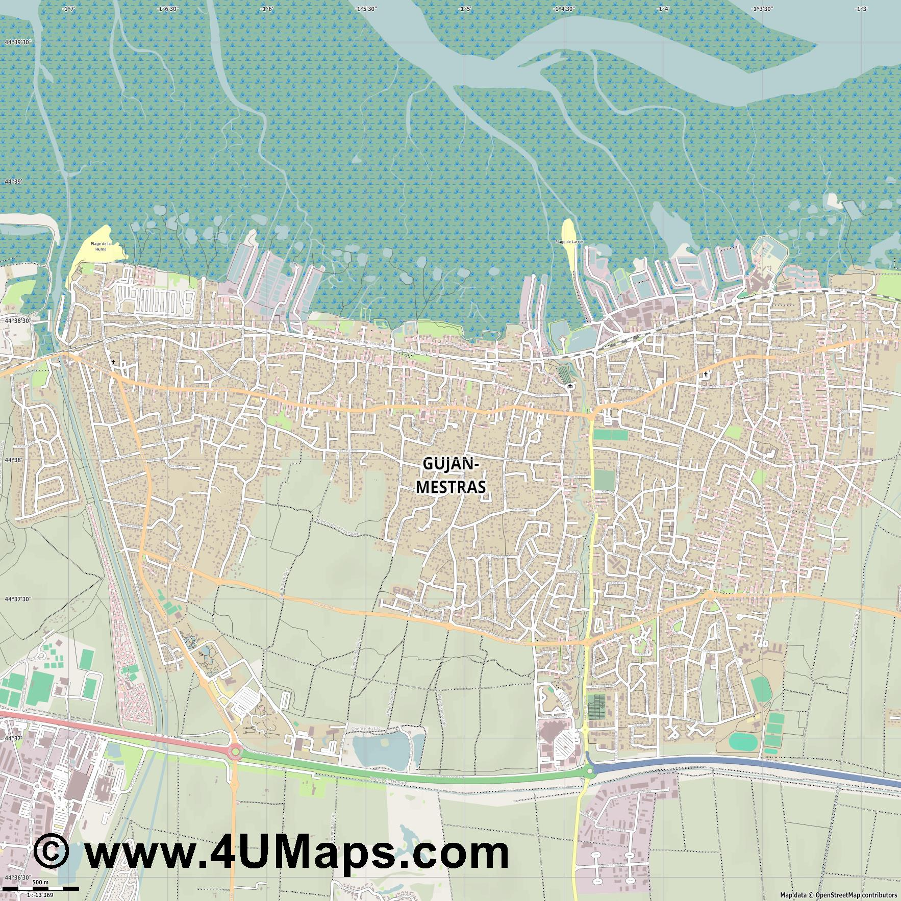 Gujan Mestras  jpg ultra high detail preview vector city map