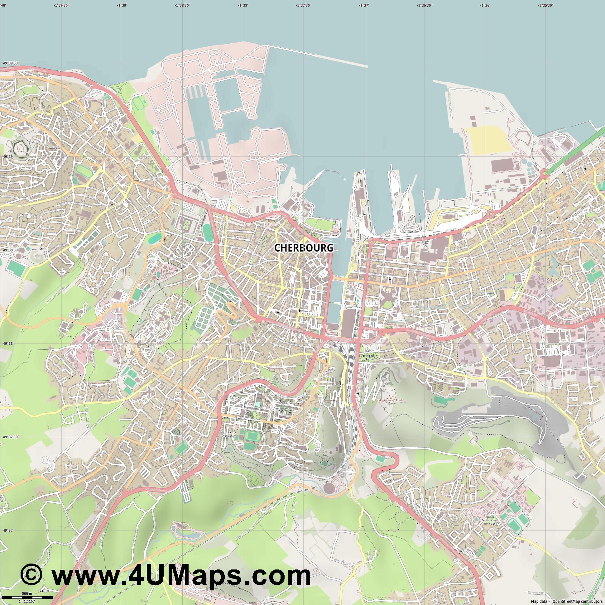 Cherbourg  jpg ultra high detail preview vector city map