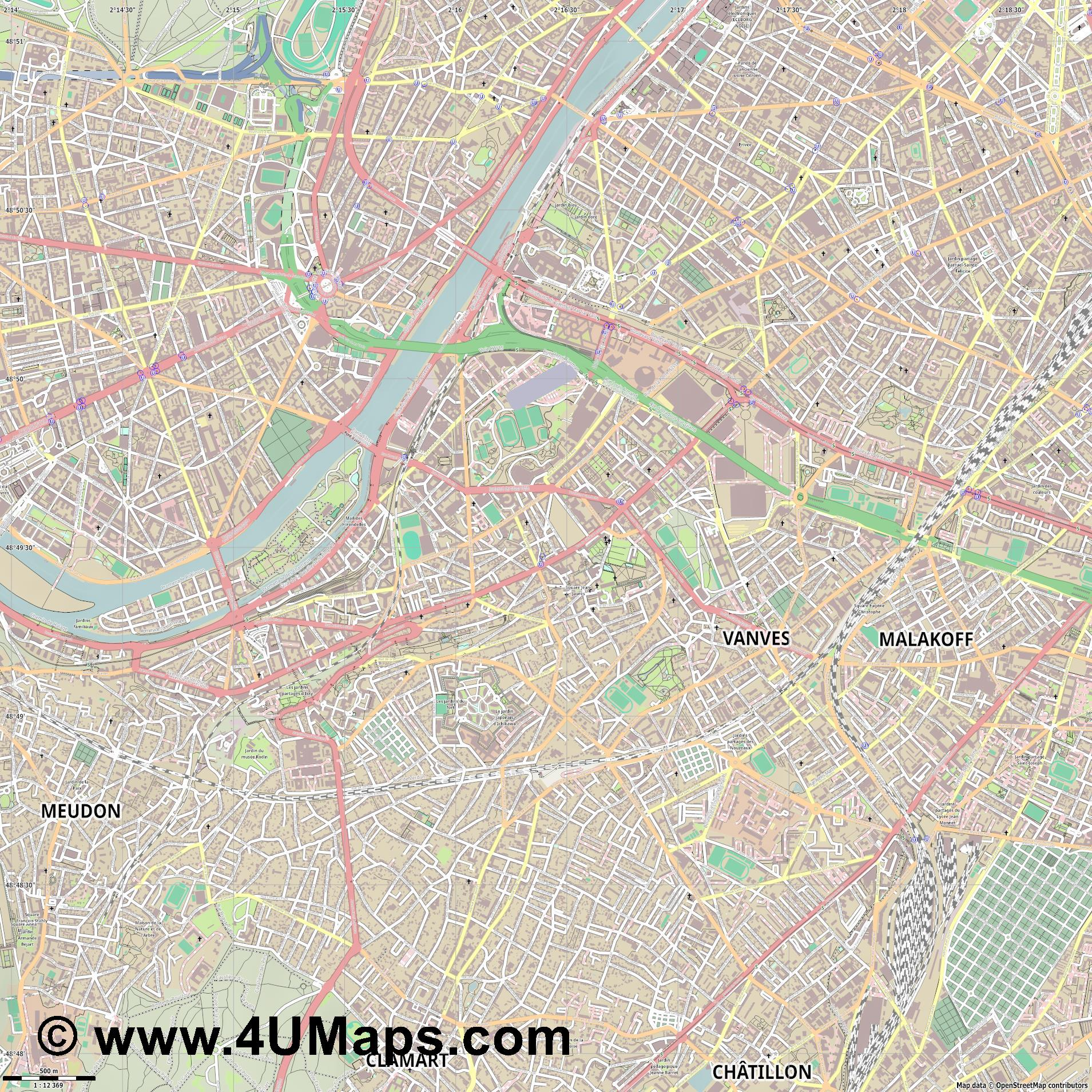 Issy les Moulineaux  jpg ultra high detail preview vector city map