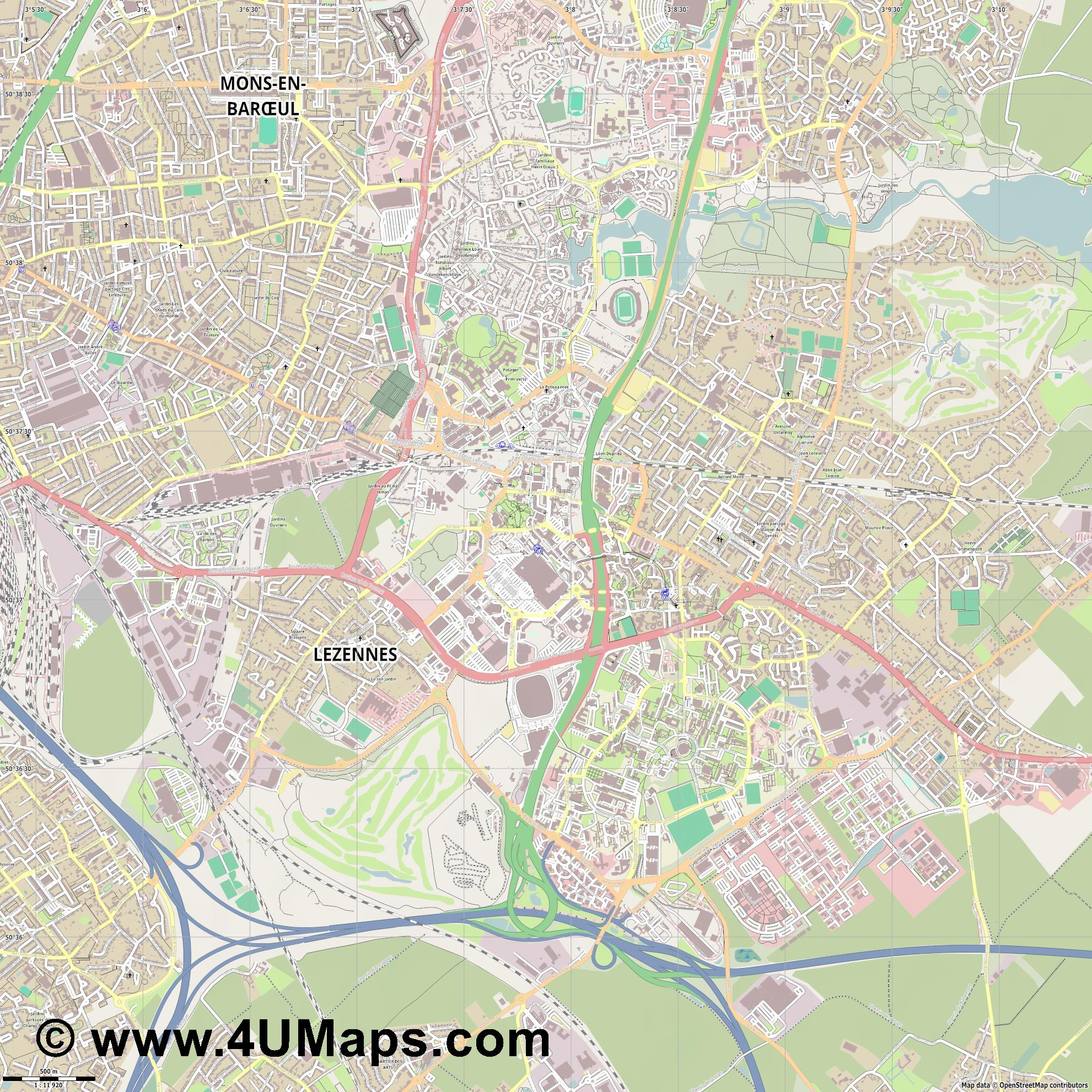 Villeneuve d Ascq  jpg ultra high detail preview vector city map