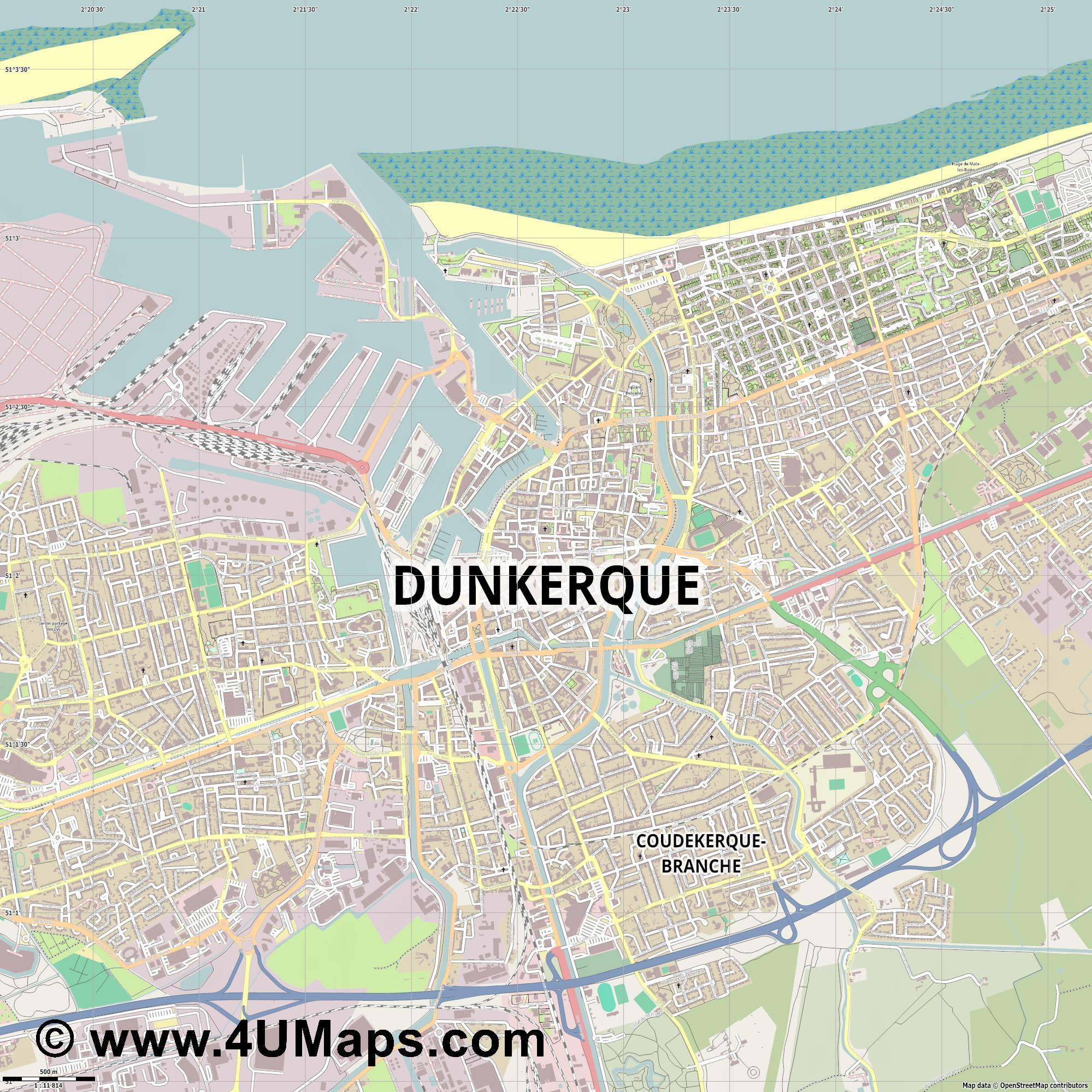 Dunkerque Dunkirk Dünkirchen  jpg ultra high detail preview vector city map